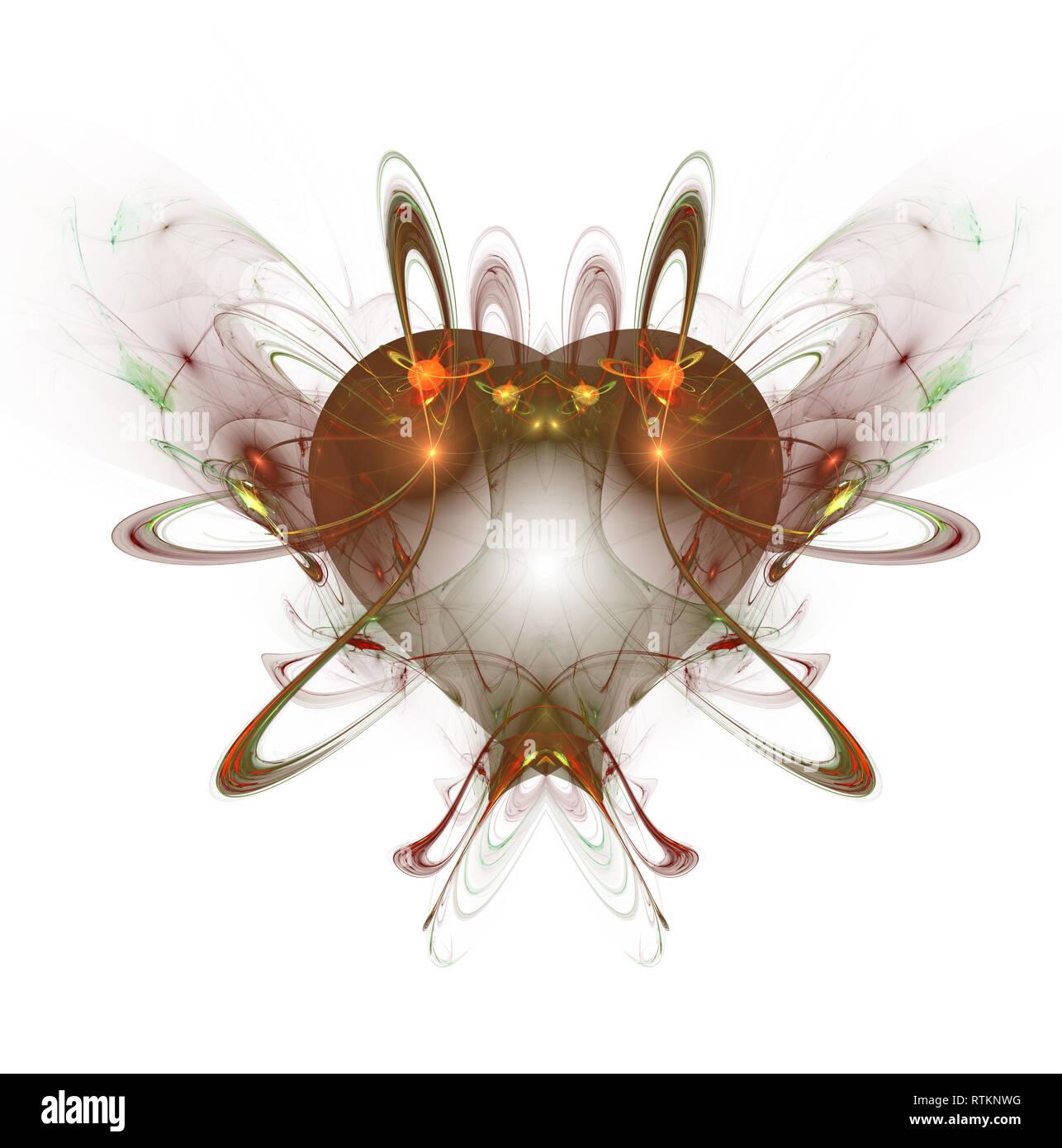 Brûlures et cœur qui bat. Arrière-plan de la Saint-Valentin. Un ordinateur abstrait moderne design fractales générées sur fond sombre. Résumé couleur fractale Banque D'Images
