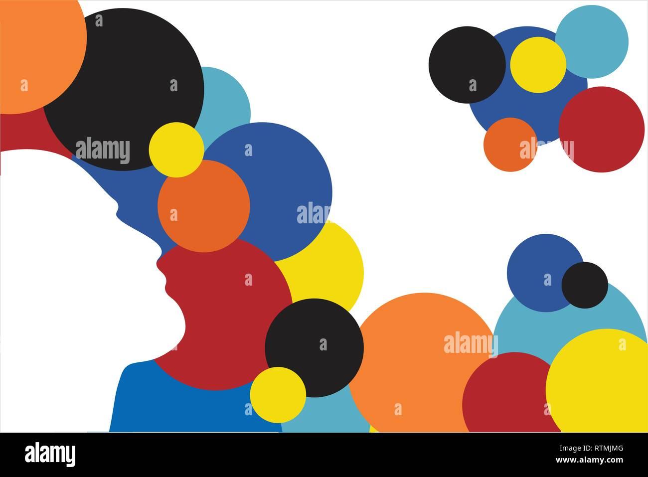 Les droits de l'ossature avec des cercles colorés - vector illustration - Illustration en couches modifiable Photo Stock
