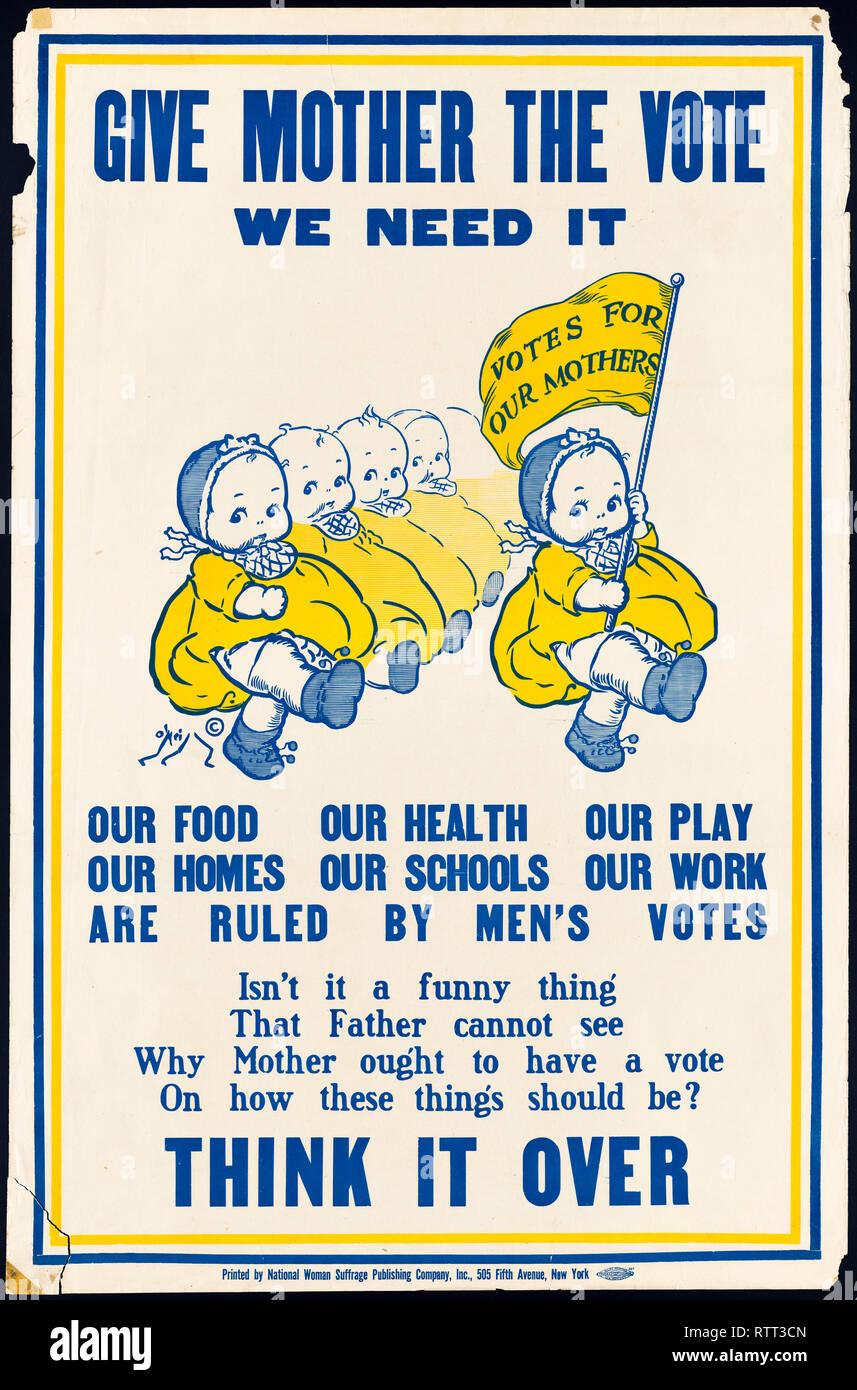 Mère donner le vote, nous avons besoin d'elle, le suffrage des femmes affiche, É. Photo Stock
