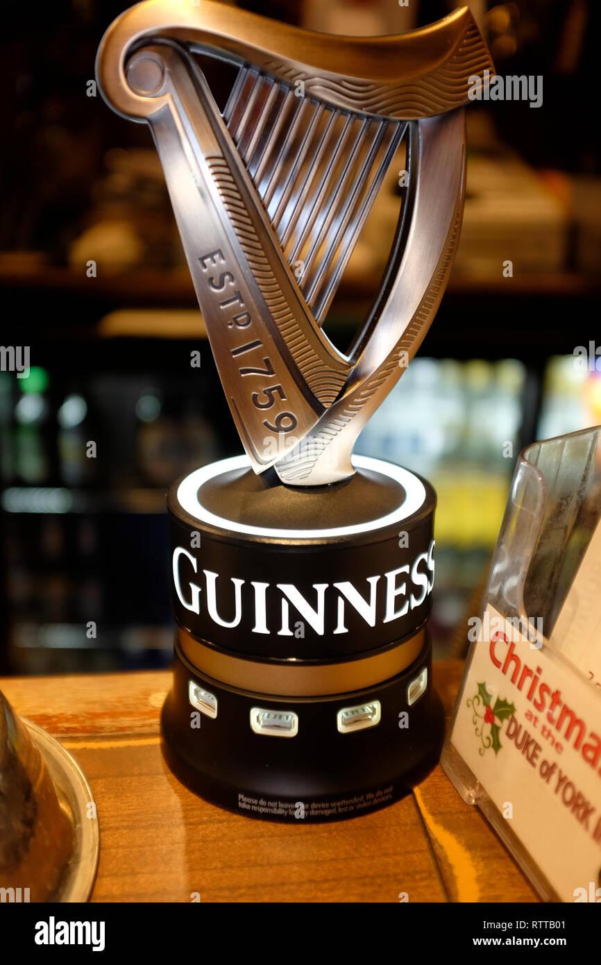 Guinness, Bar, Stout, USB, borne, pub, bar, harpe, chargeur, de promotion, d'outil, jouet, Photo Stock