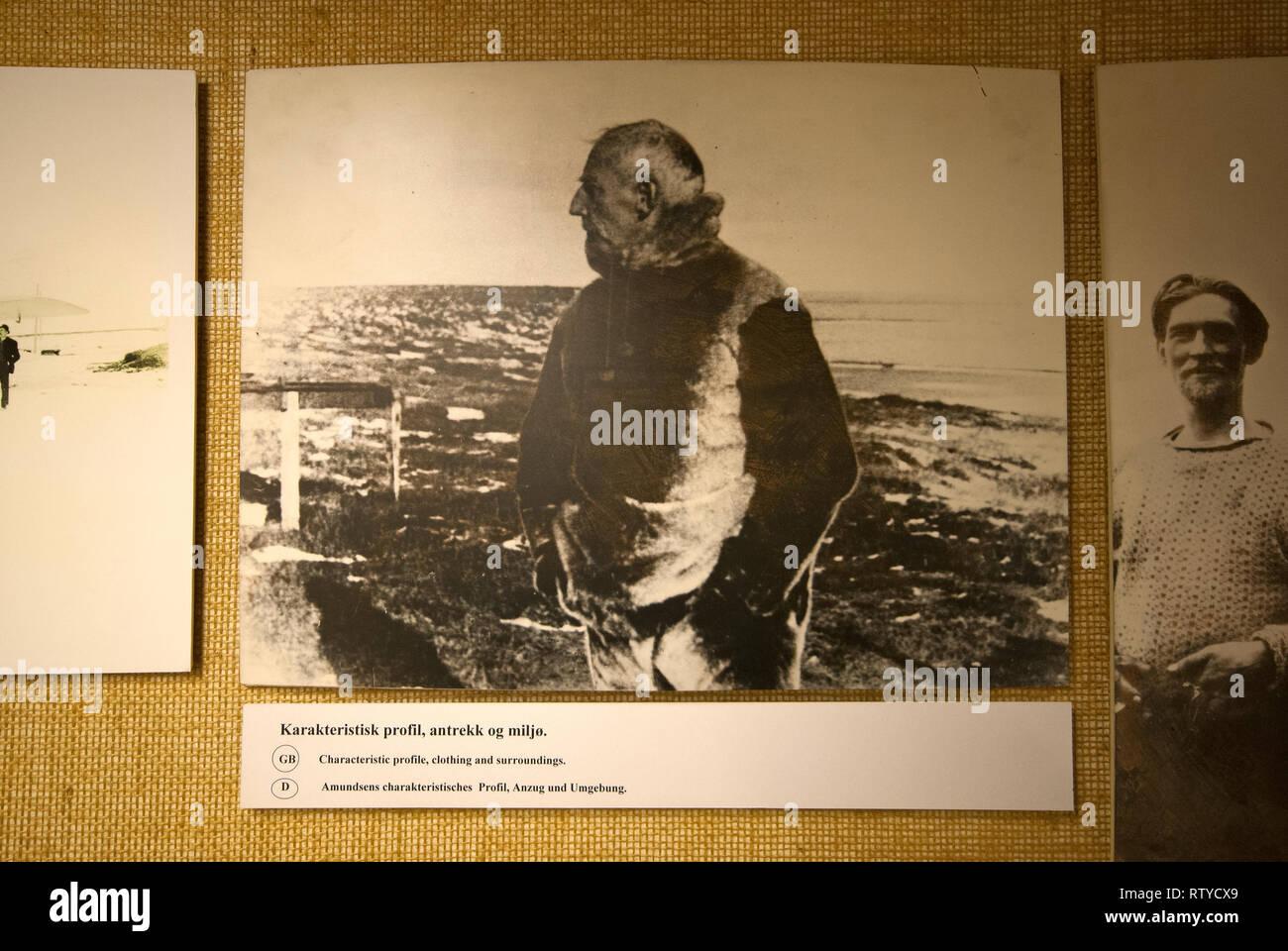 Old b/w photographie de l'explorateur norvégien Roald Amundsen (1872-1928), musée polaire (Polarmuseet) dans le comté de Troms, Tromso, Norvège Photo Stock