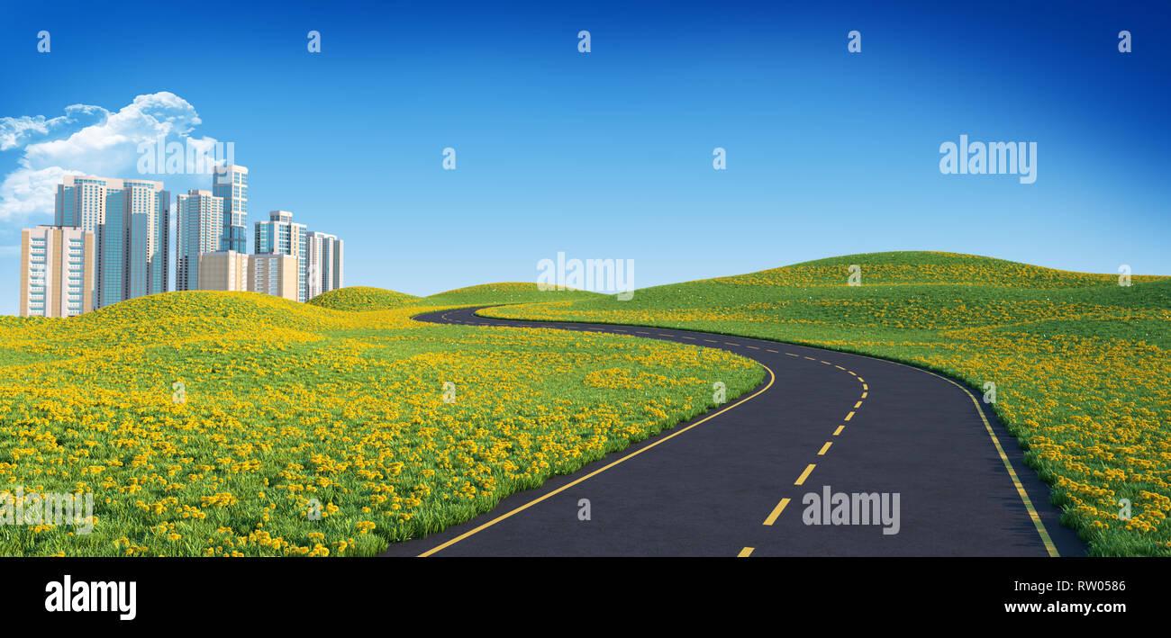 Route sinueuse qui mène à la grande ville. 3D illustration Photo Stock