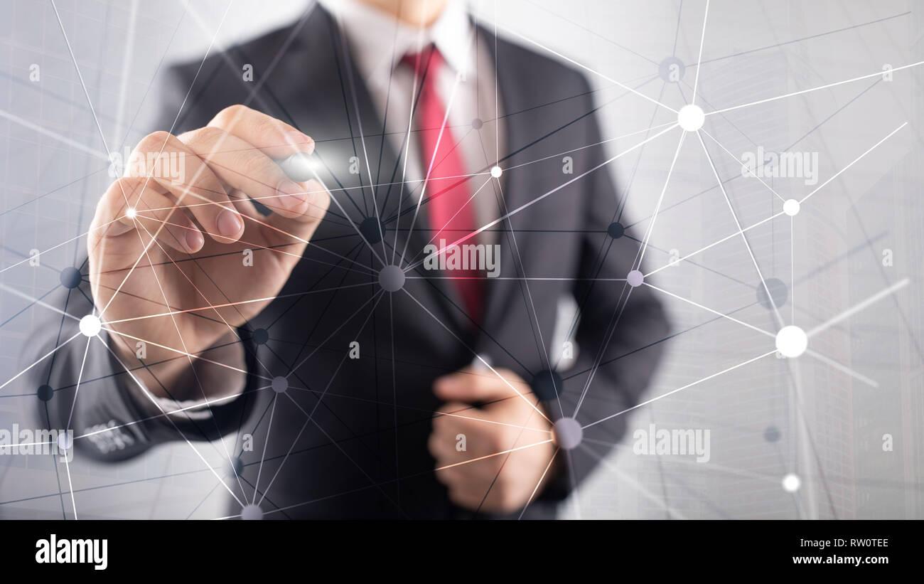 Blockchain sur réseau gratte-ciel fond flou. La technologie financière et communication concept. Banque D'Images