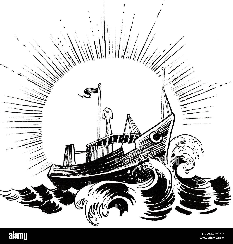 Chalutier De Peche En Mer Agitee Dessin Noir Et Blanc Encre Photo Stock Alamy