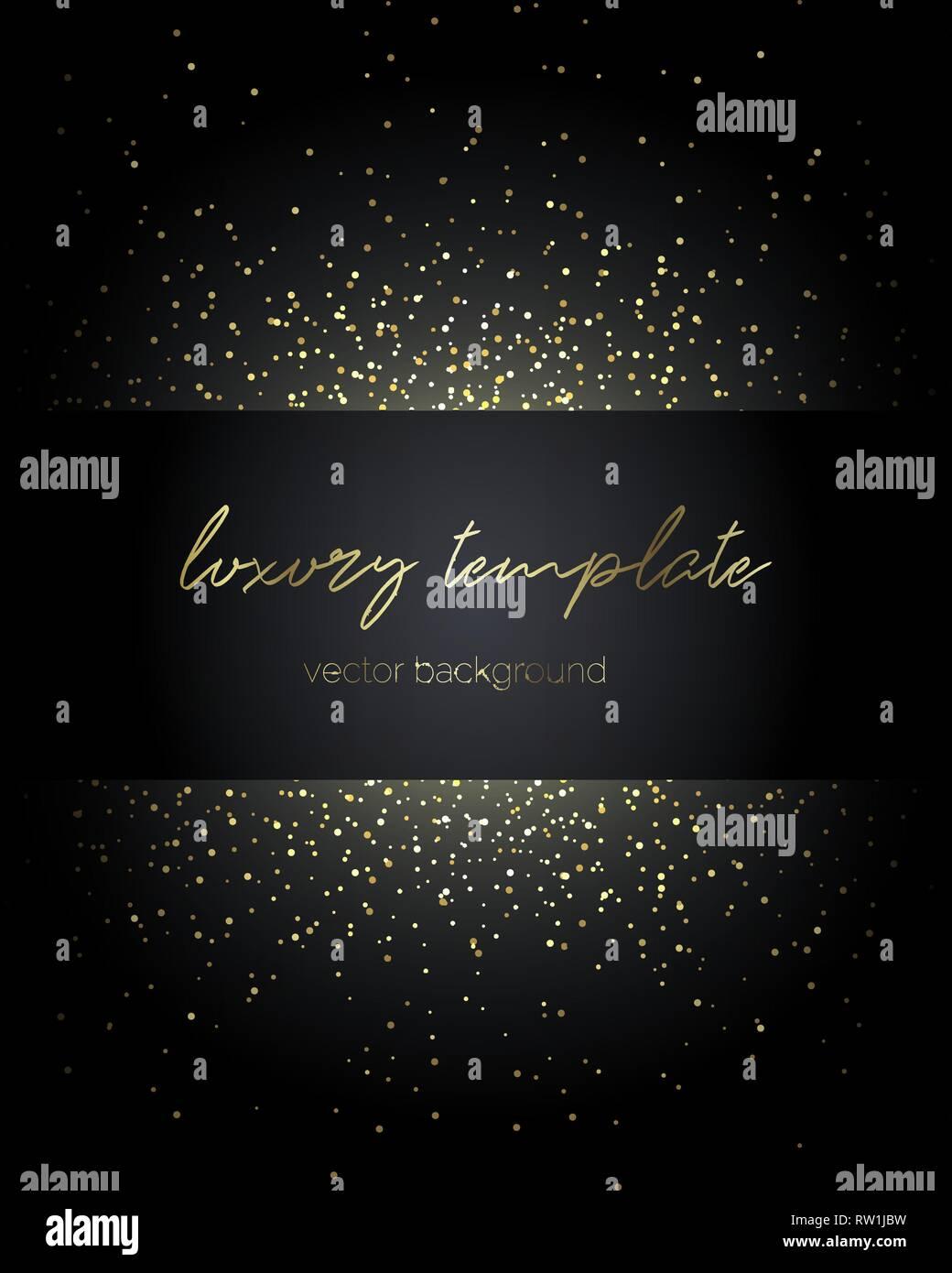 Les particules d'or. Modèle Premium de message texte. Photo Stock