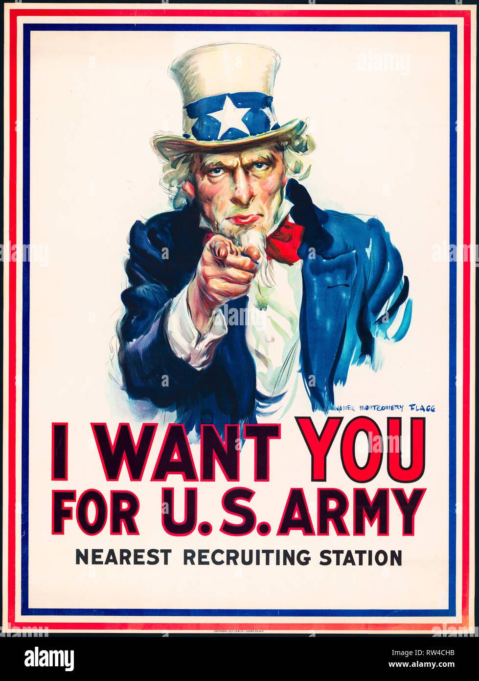 Je veux que vous pour l'armée américaine, l'Oncle Sam, US Army World War 1, 1917 affiche de recrutement Photo Stock