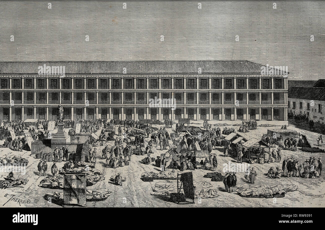 L'Amérique. Colombie-britannique. Bogota. La maison de ville. Gravure, 19e éd. par équinoxe américain c. André. Photo Stock