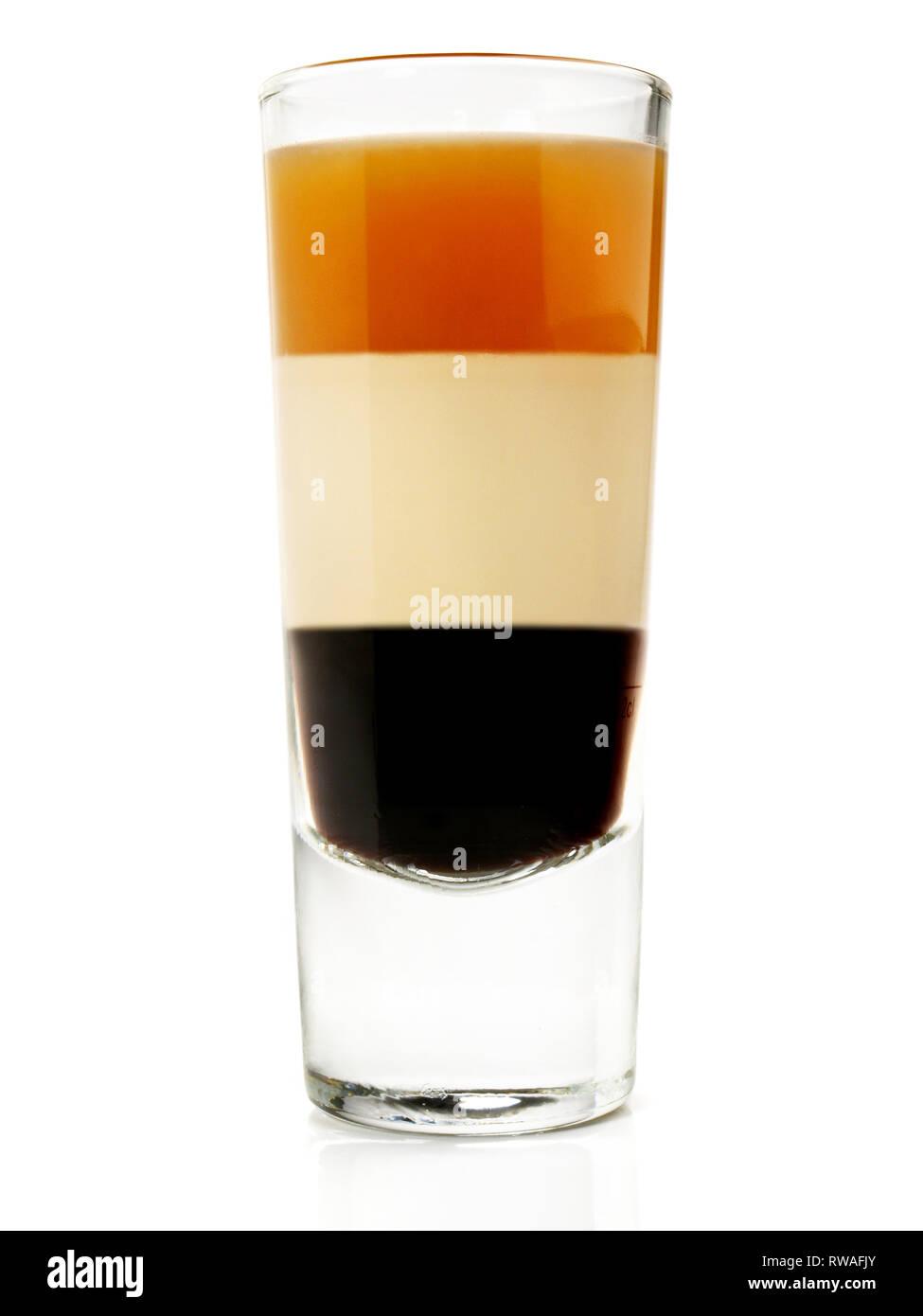 B52 Cocktail sur fond blanc Banque D'Images