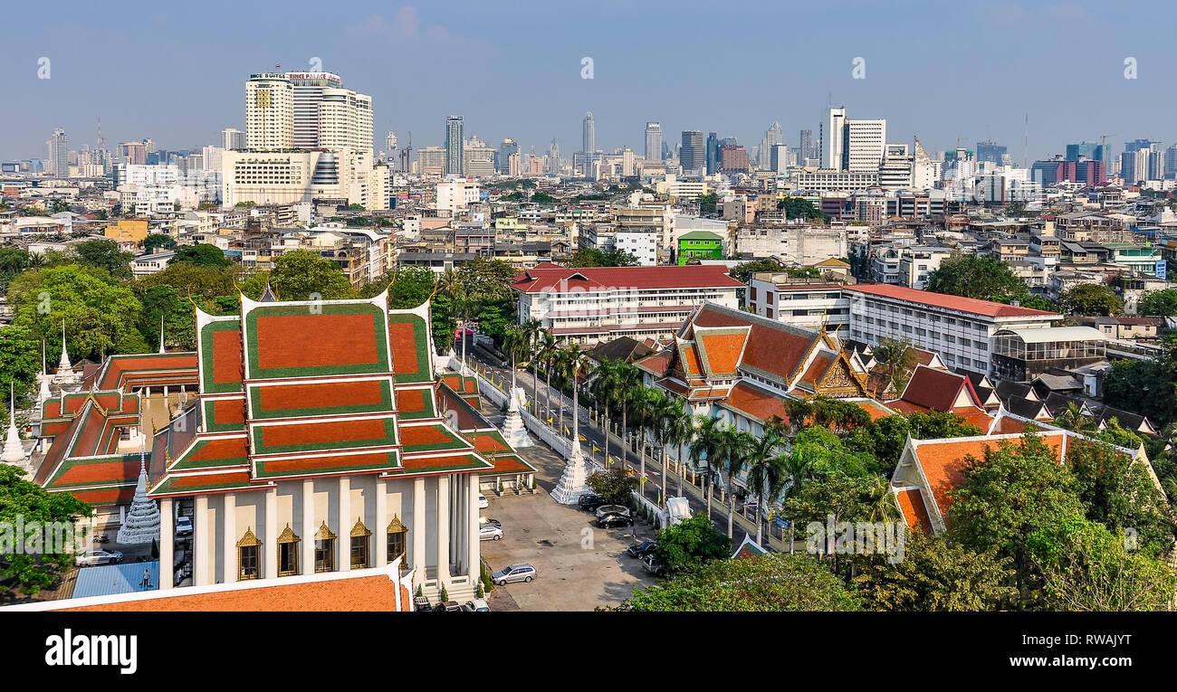Vue panoramique depuis le Mont d'or à Bangkok en Thaïlande Banque D'Images