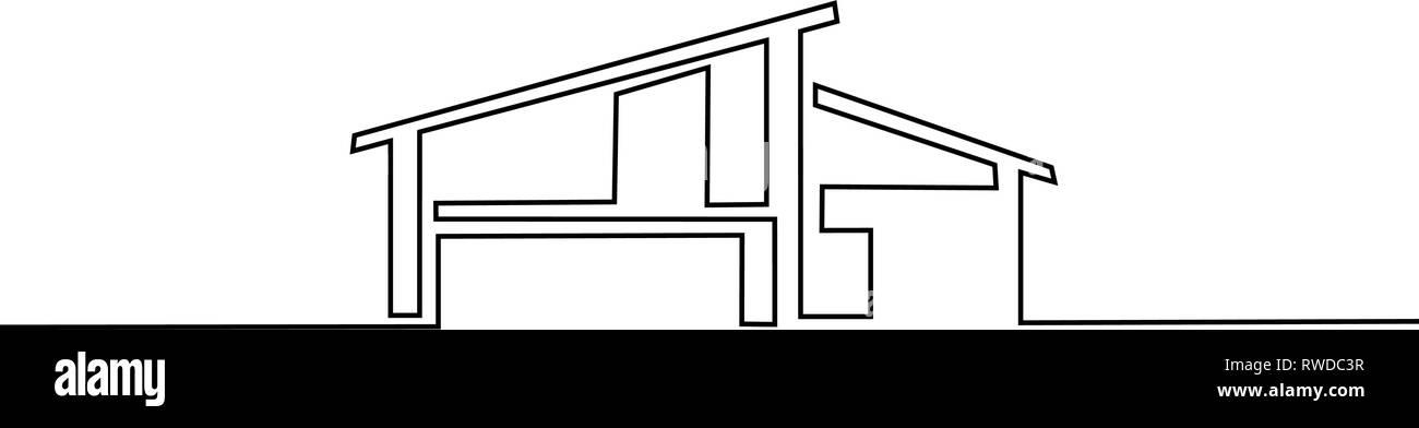 Dessin Dune Ligne Continue Maison Moderne Immeuble