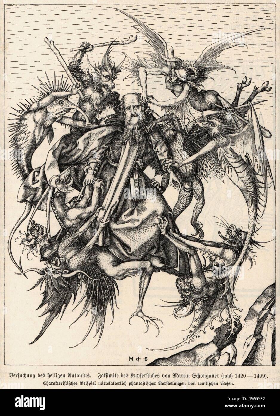 """Anthony les 'grandes', vers 251 - vers 353, Saint égyptien, pleine longueur, """"La Tentation de Saint Antoine"""", gravure sur cuivre par Martin Schongau, vers 1470 - 1475, l'artiste n'a pas d'auteur pour être effacé Photo Stock"""