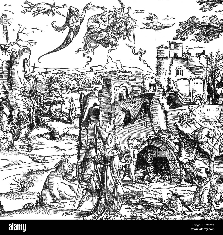 """Anthony les 'grandes', vers 251 - vers 353, Saint égyptien, demi-longueur, """"La Tentation de Saint Antoine"""", détail, gravure sur bois, de Jérôme Bosch, 1522 Additional-Rights Clearance-Info,--Not-Available Photo Stock"""