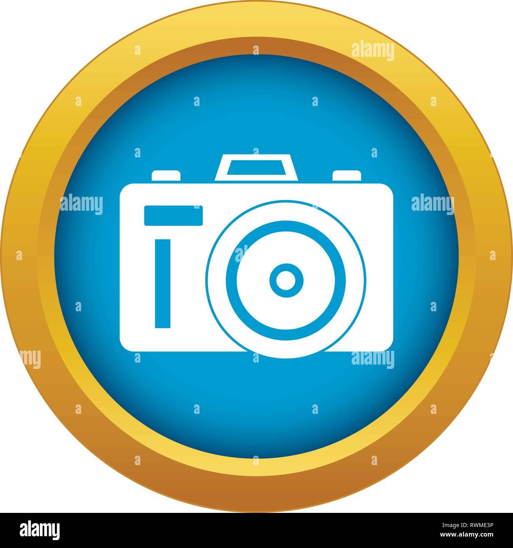 Icône vecteur Photocamera bleu isolé Photo Stock