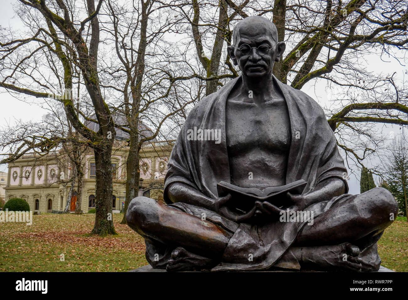 Statue de Gandhi, Genève, Suisse Banque D'Images