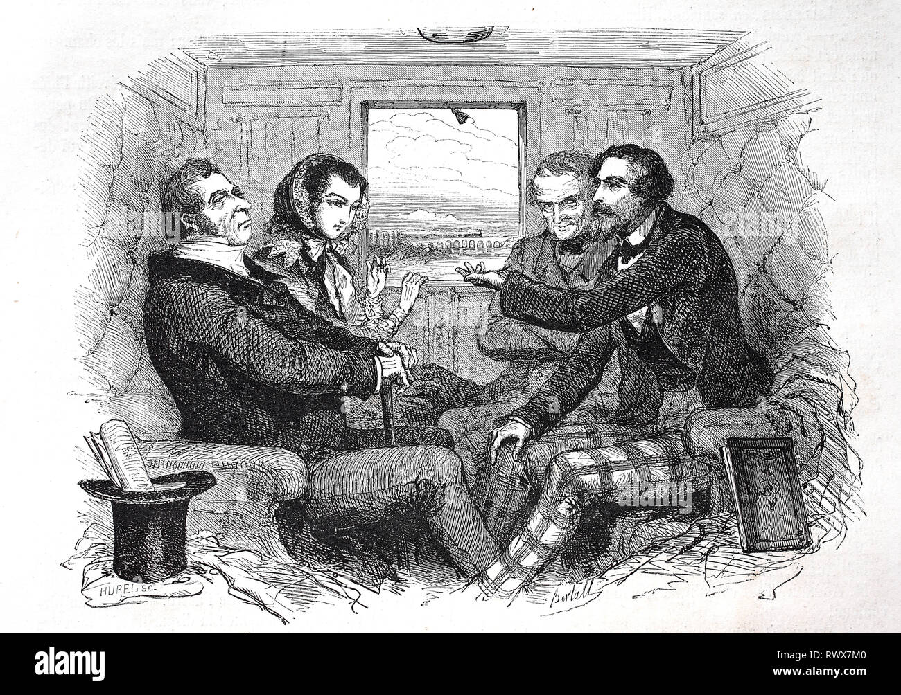 Unterhaltung in einem Eisenbahnwagon / loisirs dans une voiture de chemin de fer Banque D'Images