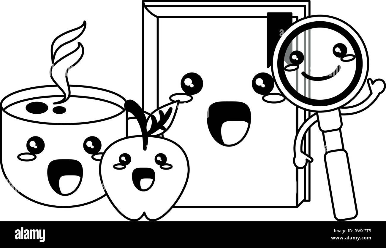 Les Ustensiles Scolaires Kawaii Dessins Animés En Noir Et