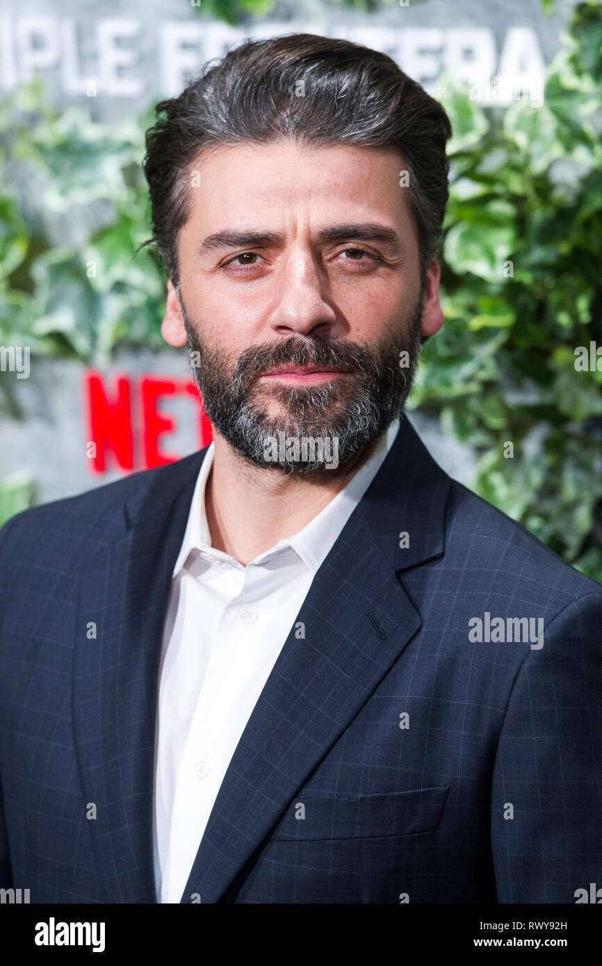 """Oscar Isaac à la première de la """"Triple frontera Netflix movie / Triple frontière' au Cine Callao. Madrid, 06.03.2019   Le monde d'utilisation Photo Stock"""