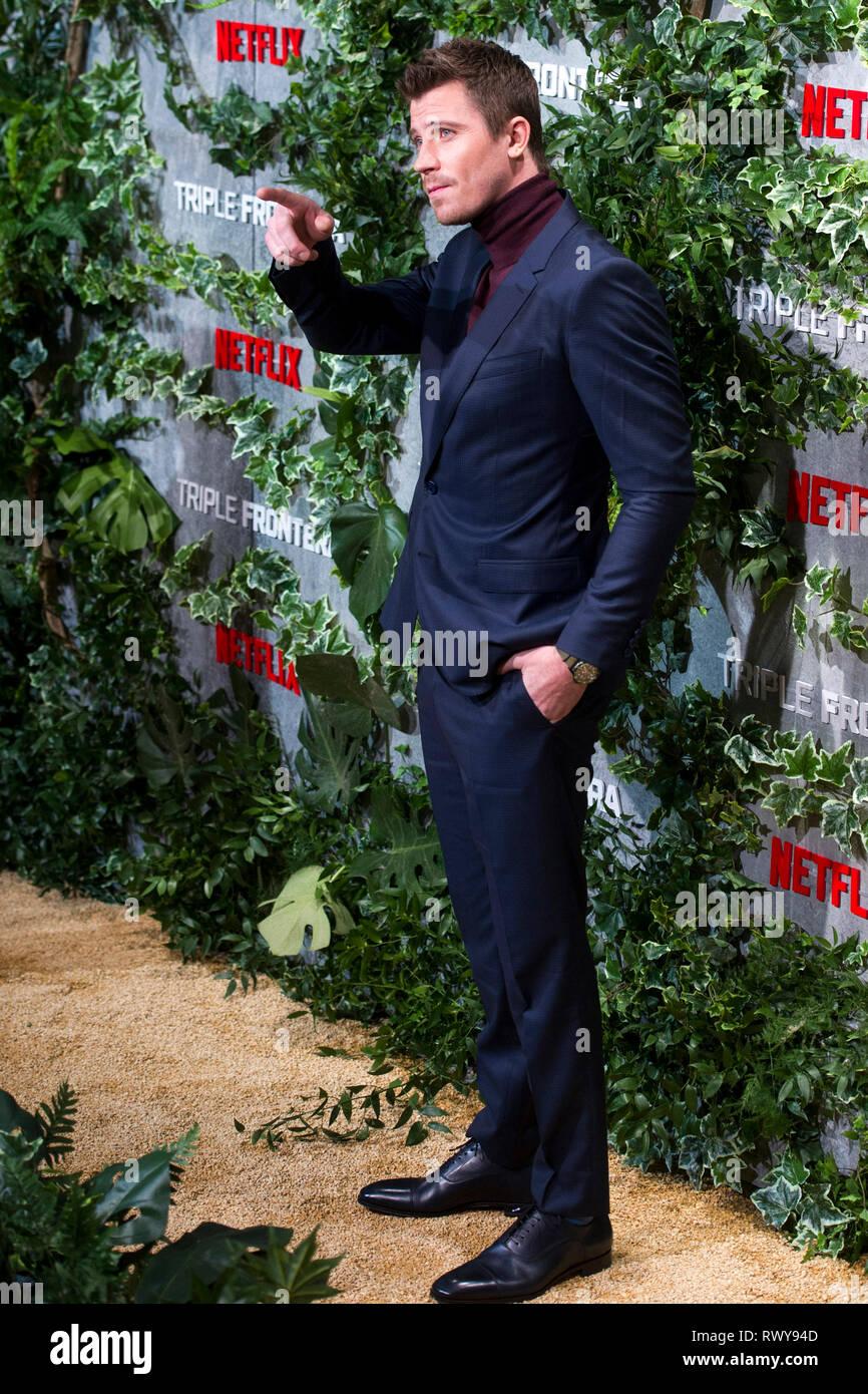 """Garrett Hedlund à la première de la """"Triple frontera Netflix movie / Triple frontière' au Cine Callao. Madrid, 06.03.2019   Le monde d'utilisation Photo Stock"""