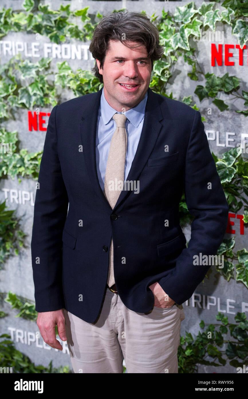 """Chandor JC lors de la première de la """"Triple frontera Netflix movie / Triple frontière' au Cine Callao. Madrid, 06.03.2019   Le monde d'utilisation Photo Stock"""
