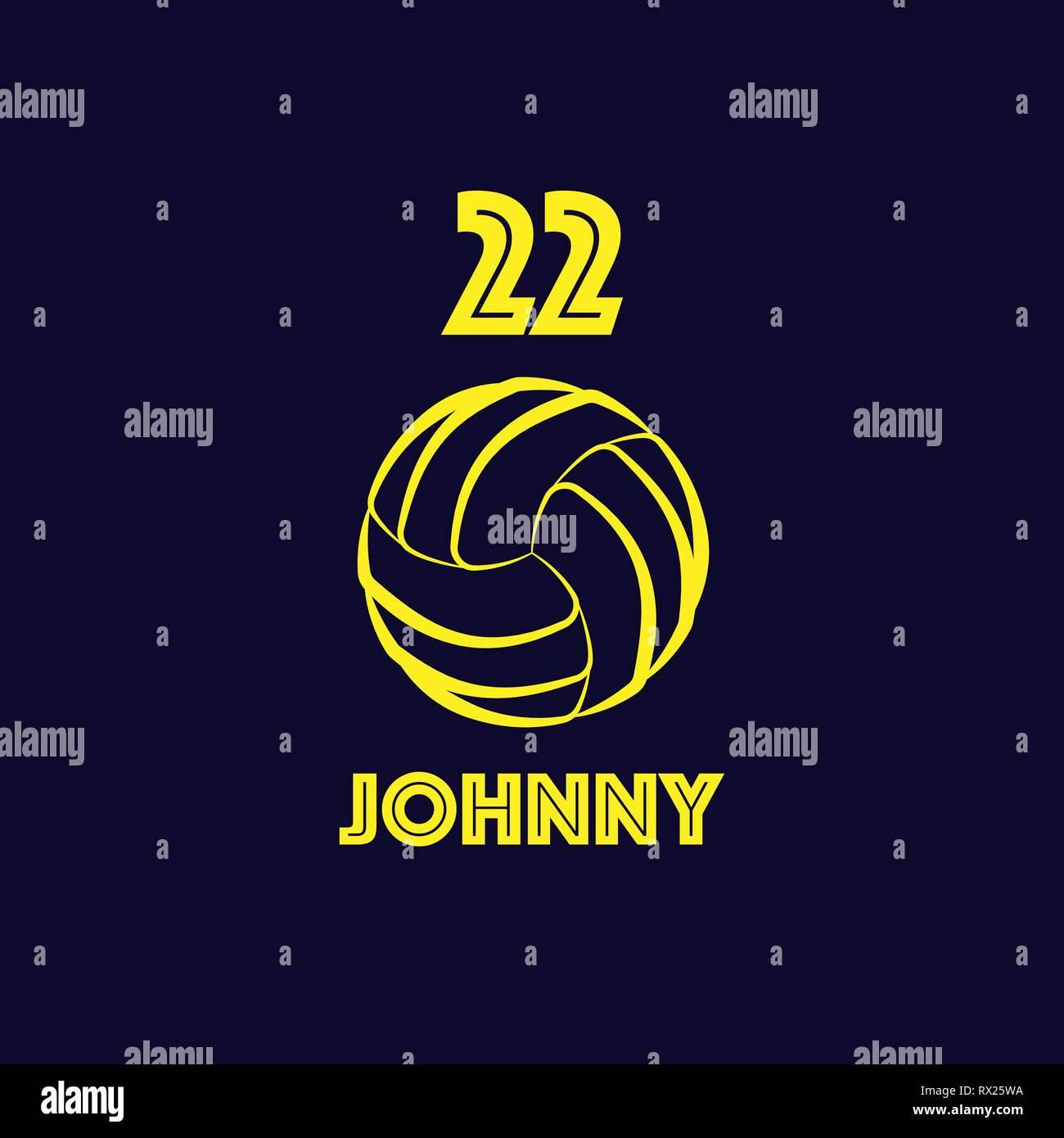 Volley-ball jaune avec symbole numéro de joueur et nom. Exemple de t-shirt arrière-plan de jeu Photo Stock