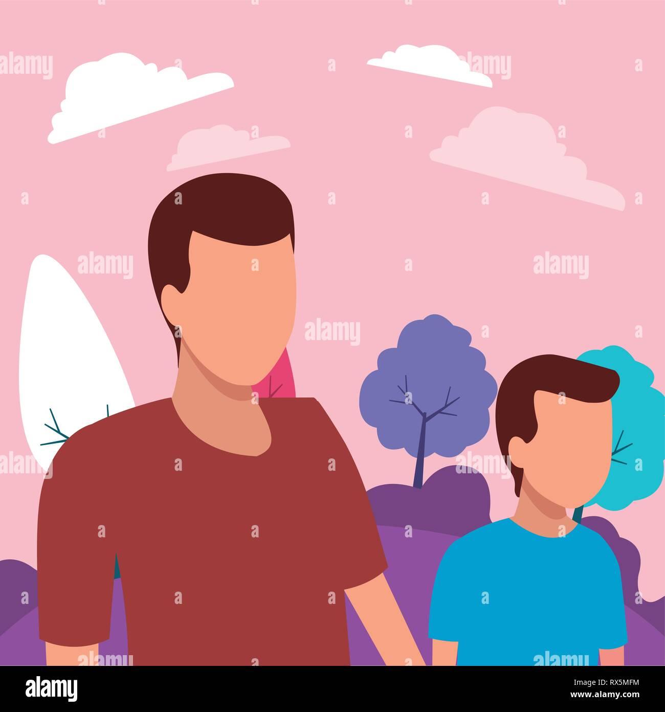 Père et fils sans visage Illustration de Vecteur