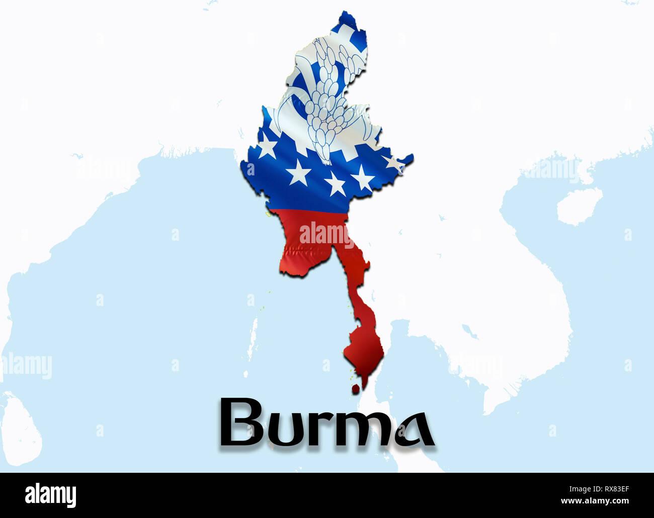 Carte Birmanie A Telecharger.Carte Drapeau Du Myanmar Le Rendu 3d De La Carte Et Drapeau