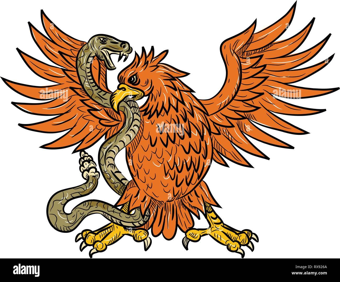 Style croquis dessin illustration d'un American golden eagle, l'aigle mexicain ou du nord caracara huppé aux prises un crotale, serpent, vipère ou ser Illustration de Vecteur