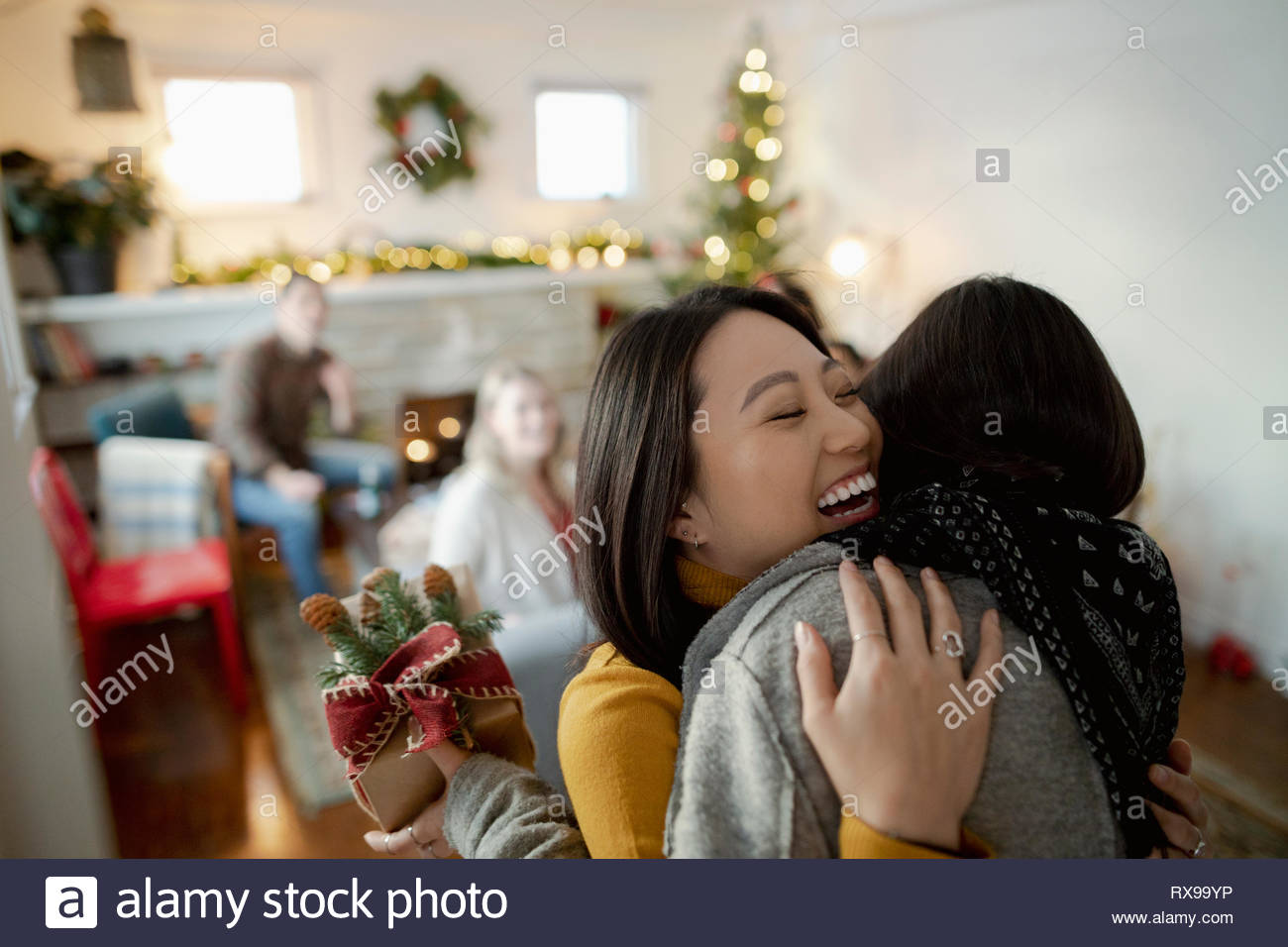 Message d'ami Happy young woman with christmas gift Photo Stock