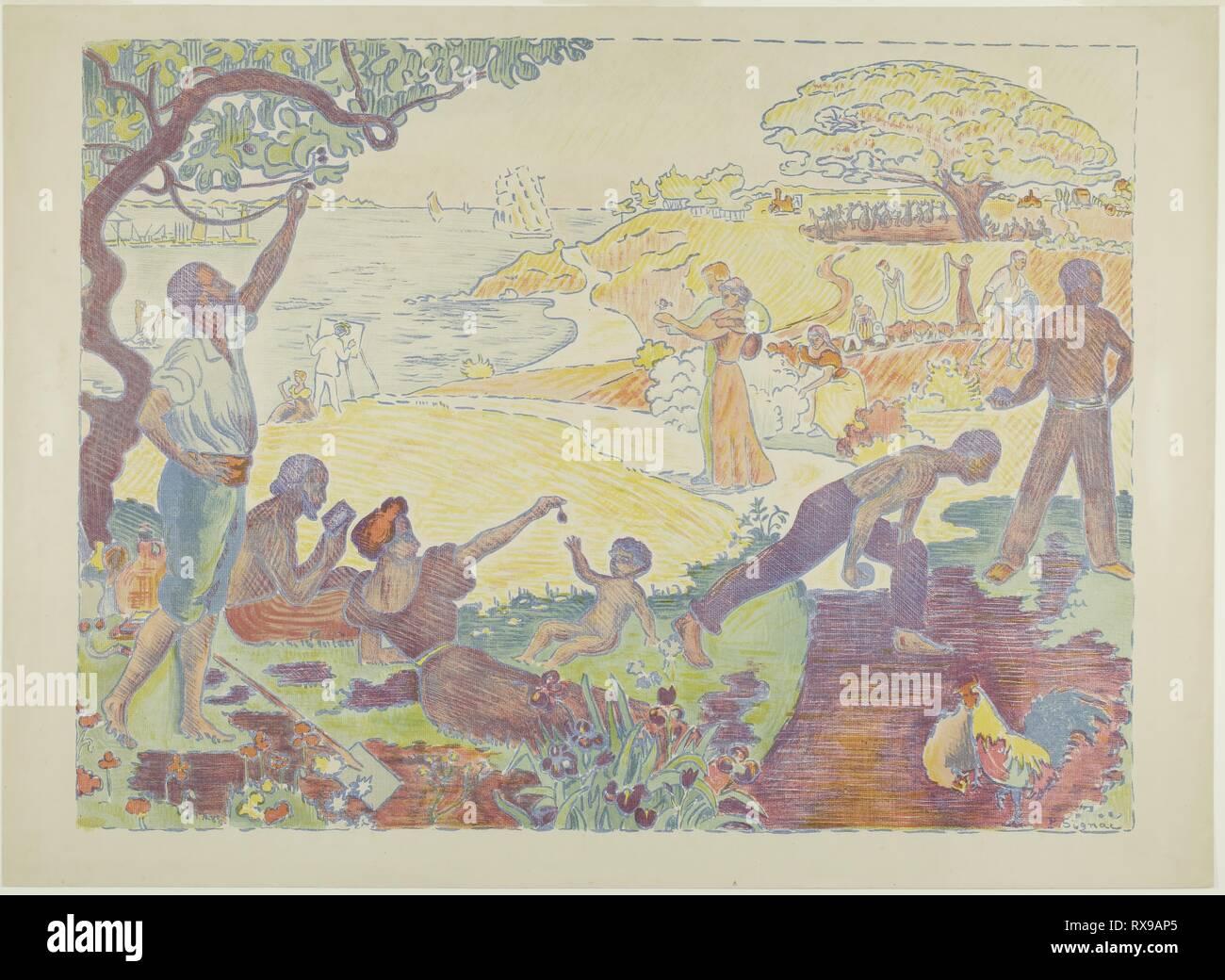 En temps de l'harmonie. Paul Signac (Français, 1863-1935); imprimé par Tailliardat. Date: 1895-1896. Dimensions: 377 × 502 mm (image); 419 × 580 mm (feuille). Lithographie en couleur vert, bleu, jaune, rouge, et de pêche avec le grattage de la plaque, à partir d'une plaque de zinc sur vélin chamois. Origine: France. Musée: le Chicago Art Institute. Banque D'Images