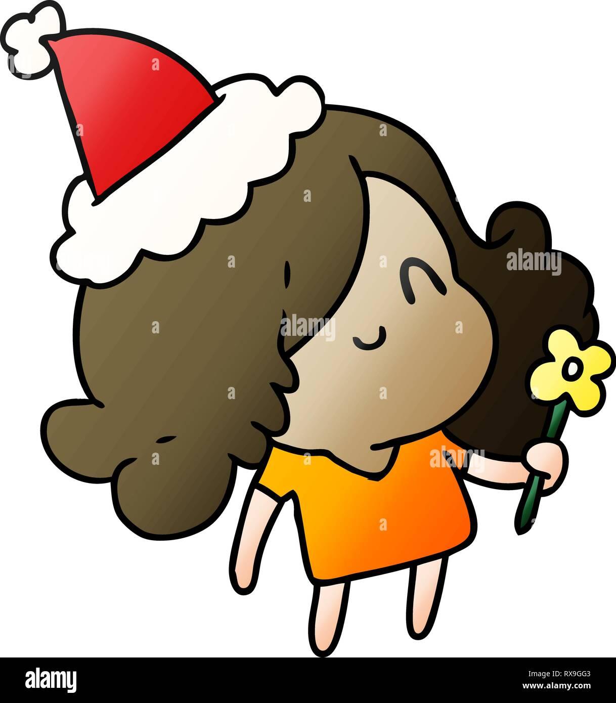 Noël à La Main Dessin Animé De Kawaii Girl Gradient Vecteurs