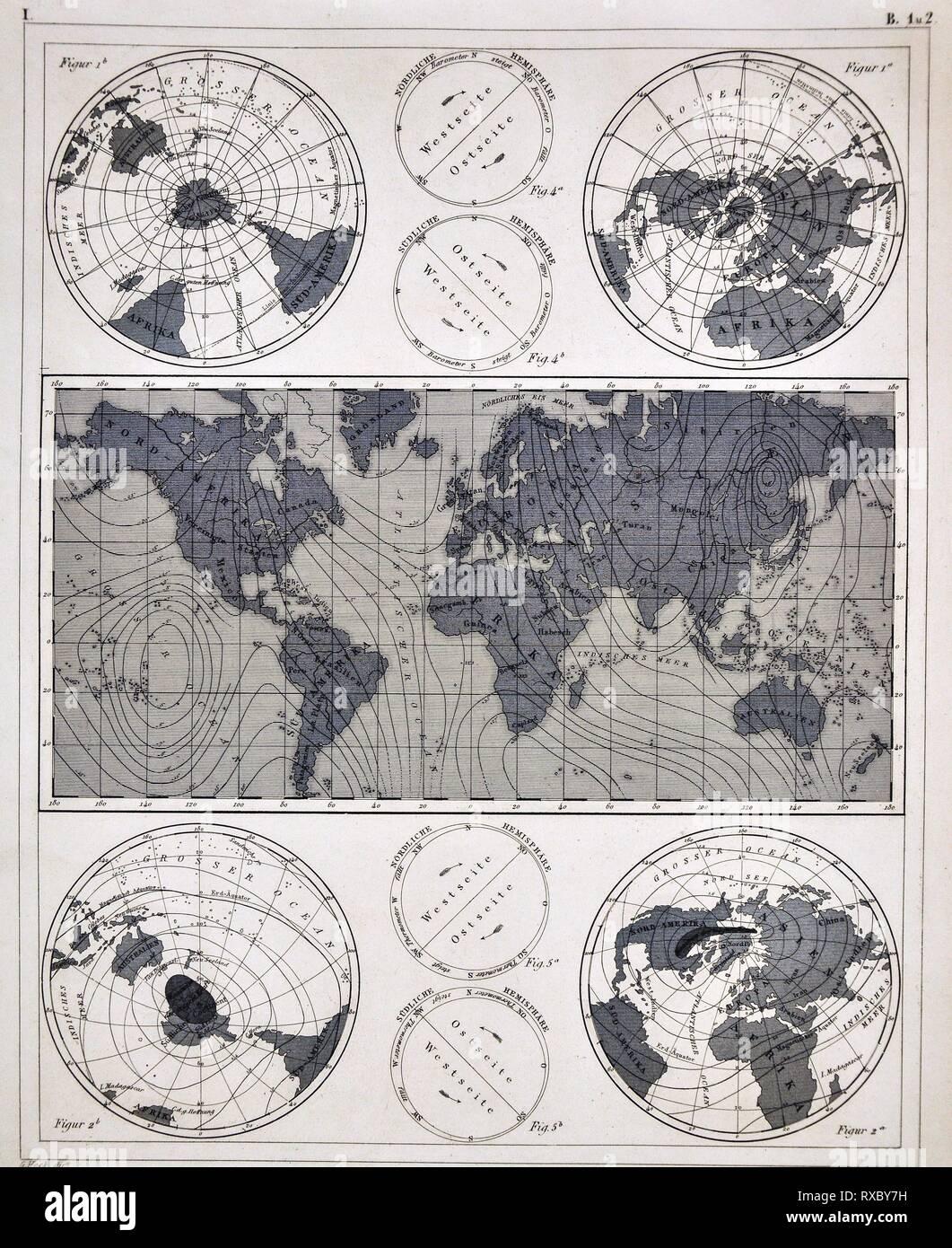 1849 Les photos Atlas World Carte montrant les champs magnétiques Photo Stock