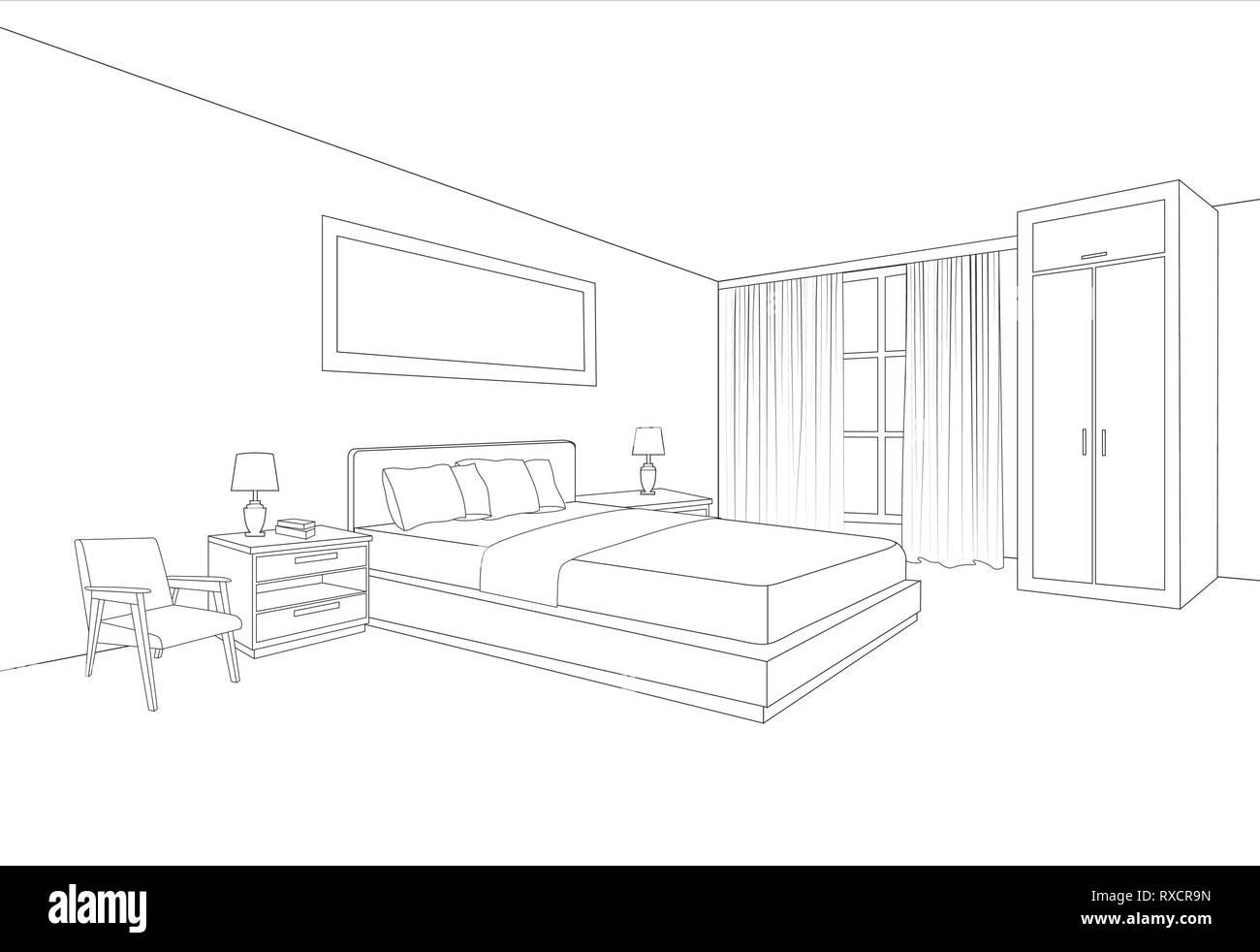 Meubles de chambre à coucher l\'intérieur. Prix line esquisse ...