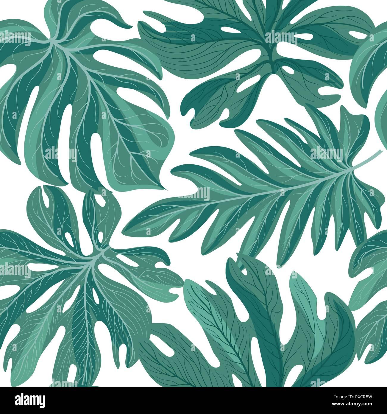 Papier Peint Motif Nature feuilles de palmier tropcal modèle homogène. belles feuilles