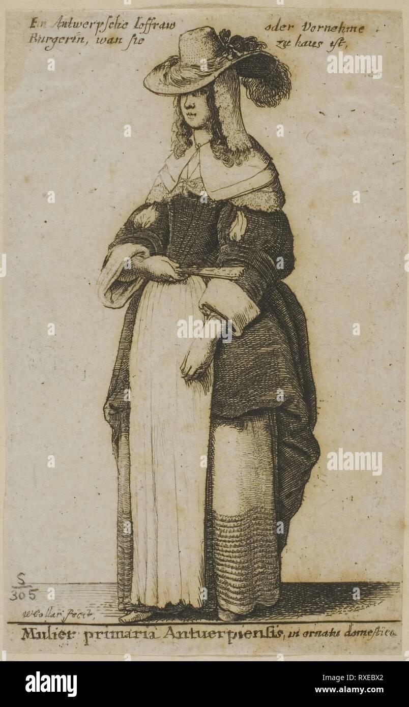 Femme d'Anvers. Wenceslaus Hollar; République tchèque, 1607-1677. Date: 1648. Dimensions: 92 × 57 mm (feuille, parés à l'intérieur d'une plaque d'interrogation). Gravure sur papier asiatique gris. Origine: La Bohême. Musée: le Chicago Art Institute. Banque D'Images