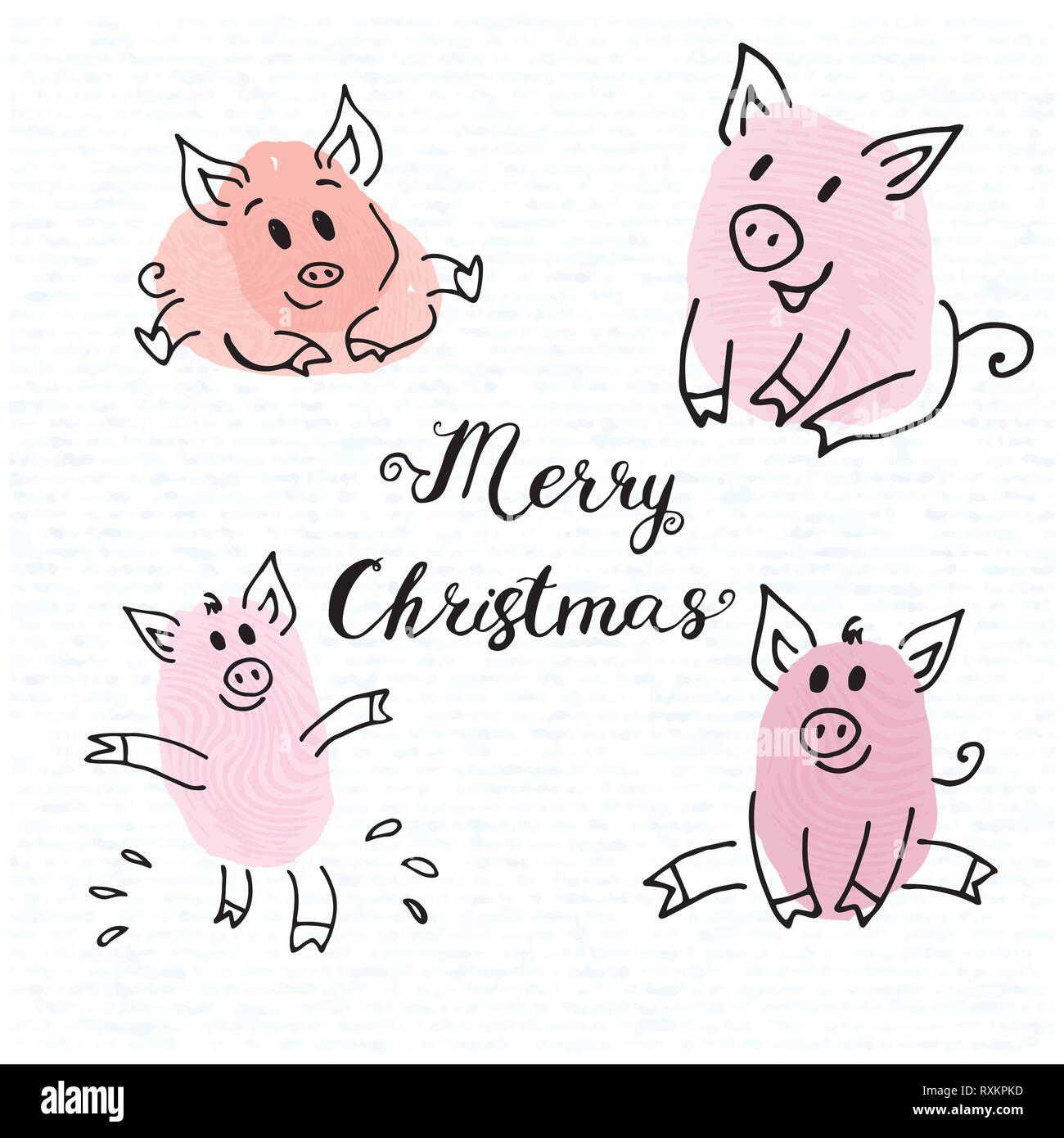 17efbb27d0 Zodiaque symbole de la nouvelle année 2019 Piggy pink fun collection de  dessins d'empreintes digitales cartes de souhaits porcelets du lettrage  Noël 2019