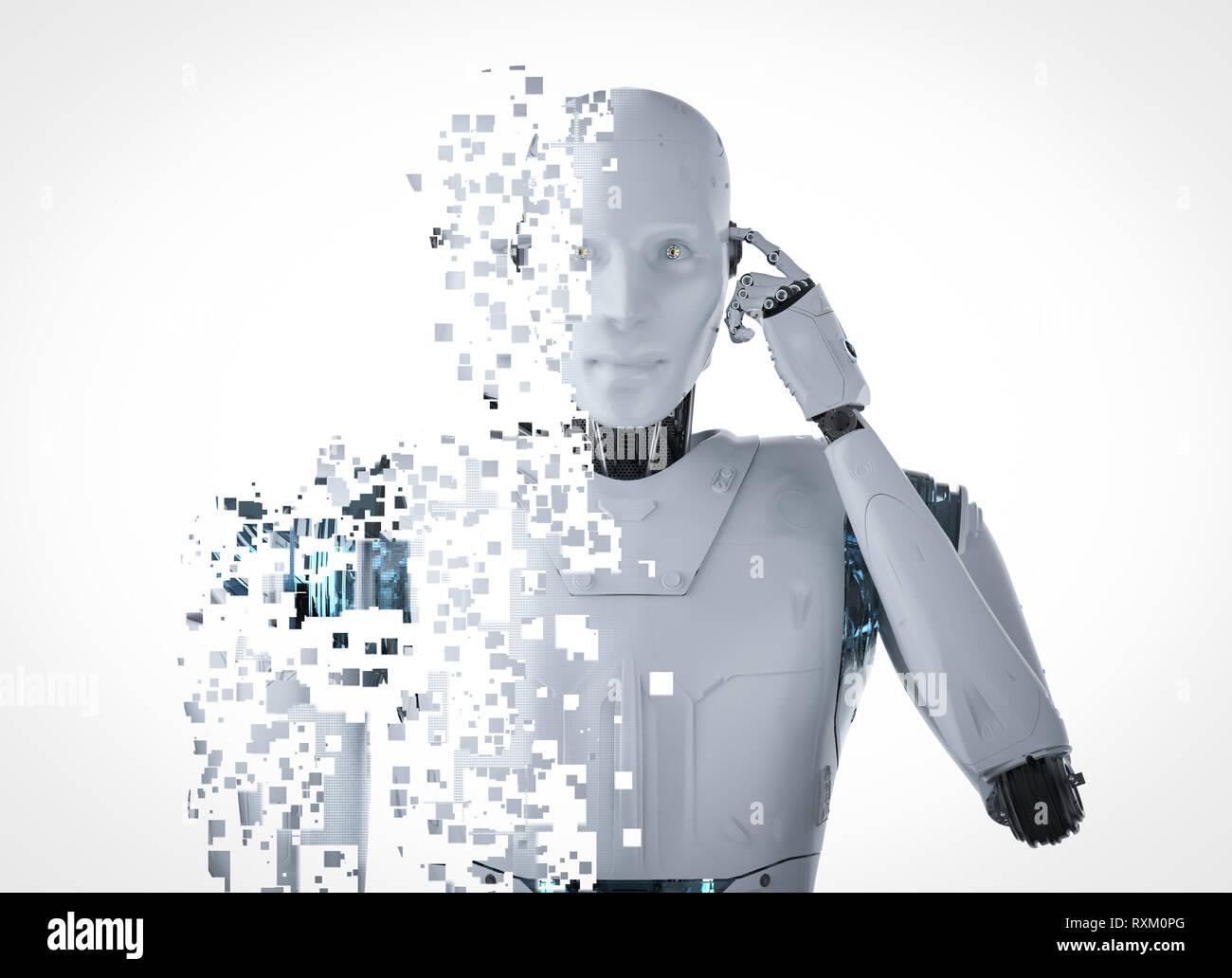 Ai rendu 3d'explosion du robot avec effet pixélisé Photo Stock