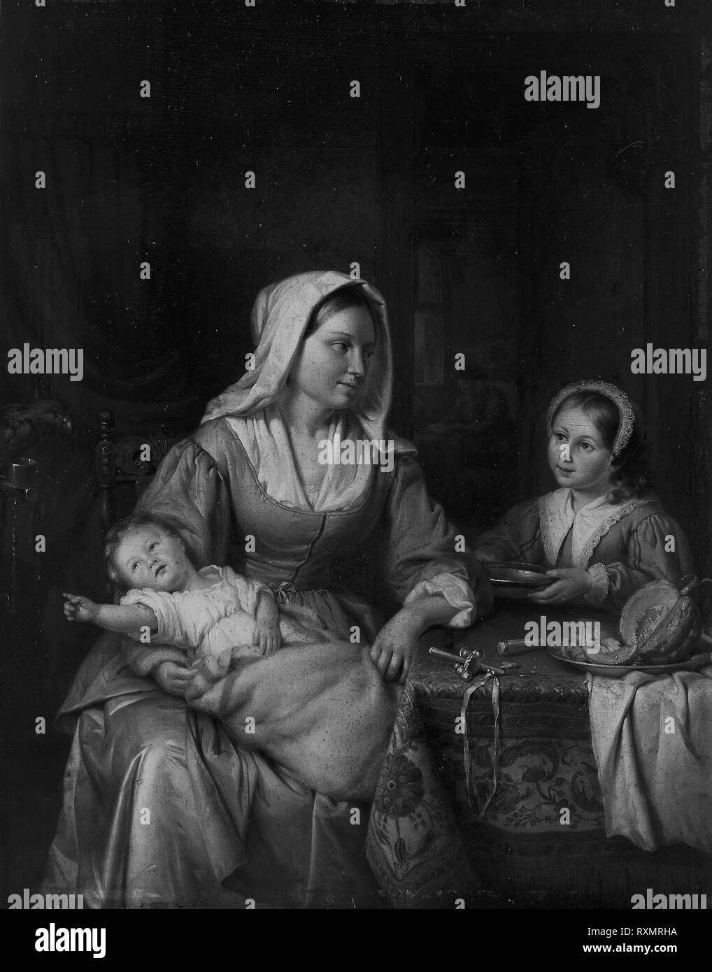 La mère et deux enfants avec toujours la vie. Adriaen de Lelie; Dutch, 1755-1820. Date: 1810. Dimensions: 14 x 11 1/4 à 15/16. (36,3 x 30,3 cm). Huile sur panneau. Origine: Pays-Bas. Musée: le Chicago Art Institute. Auteur: Adriaan de Lelie. Banque D'Images