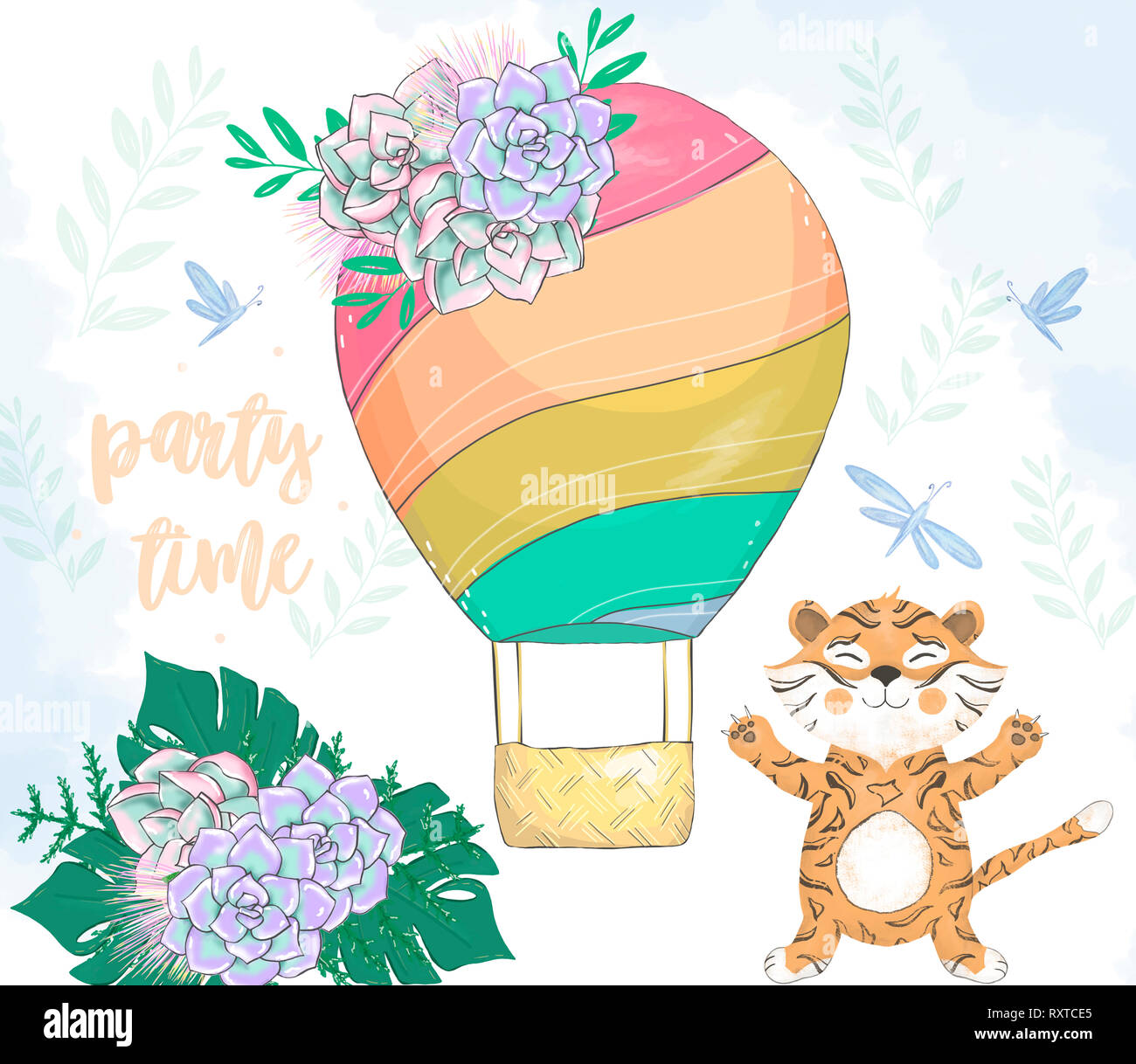 Tiger clip art numérique dessin animal mignon Photo Stock