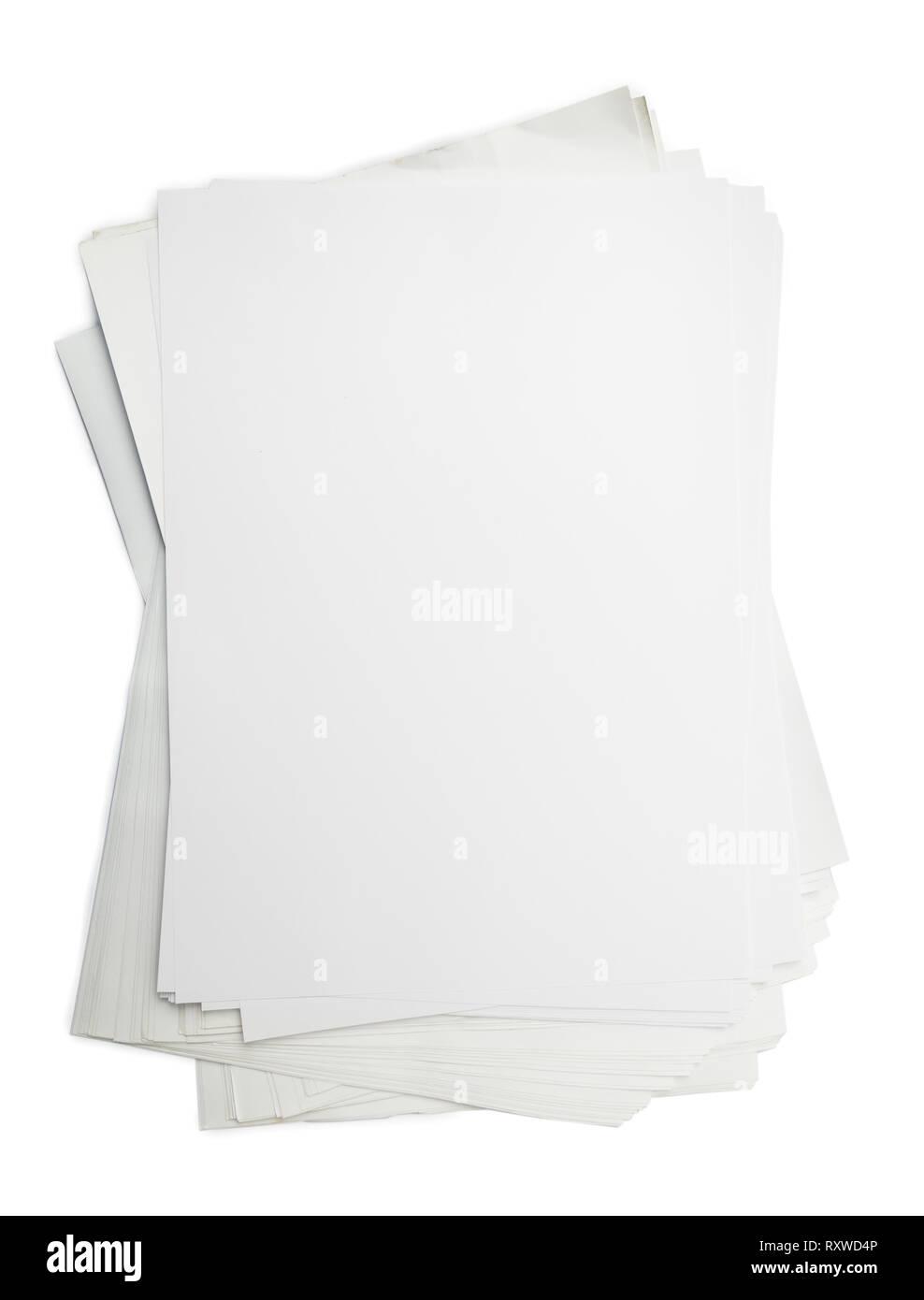 Blanc modèle papier isolé sur fond blanc avec Clipping Path Banque D'Images