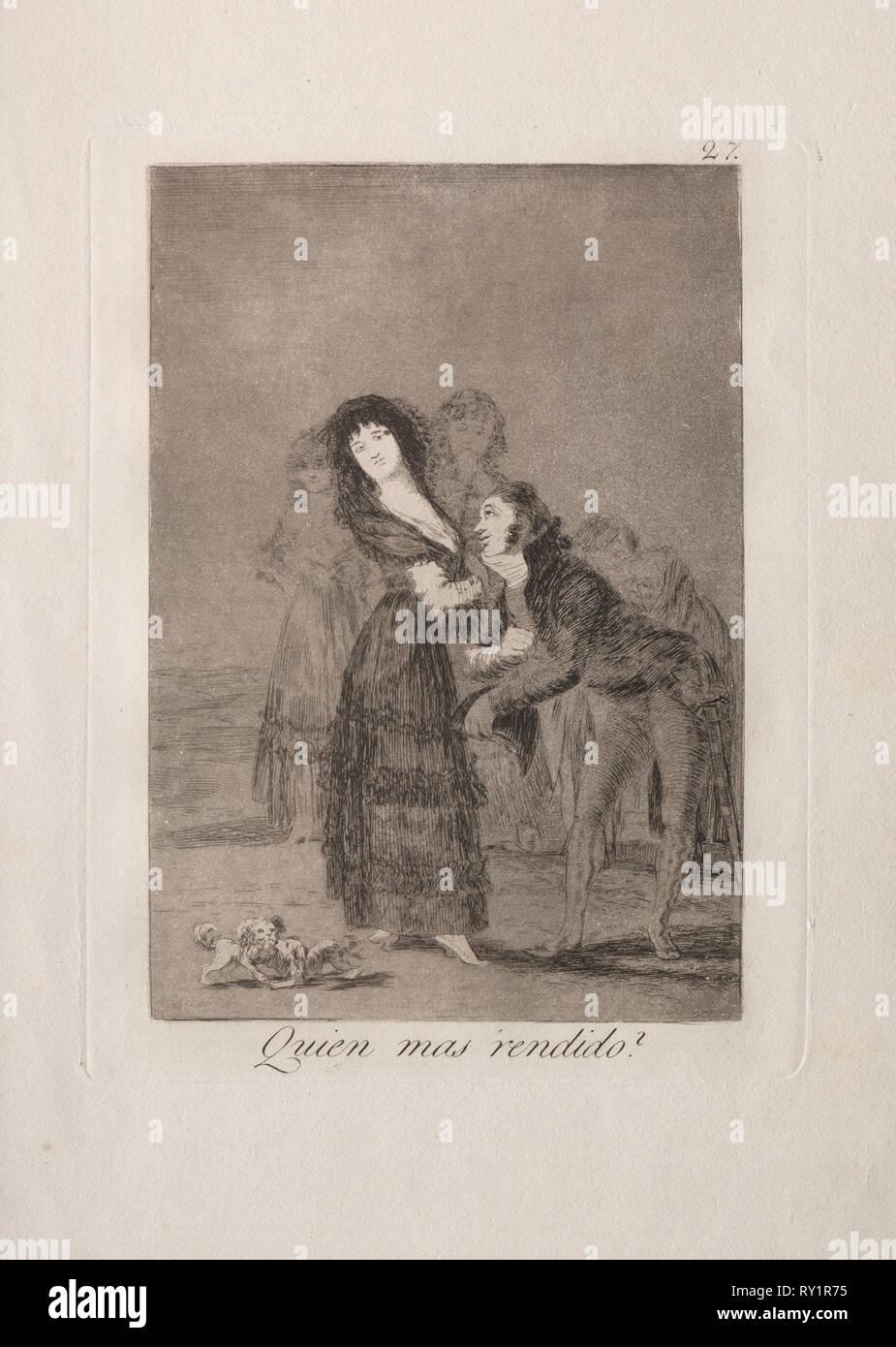 Caprichos: Lequel d'entre eux est le plus surmonter?. Francisco de Goya (Espagnol, 1746-1828). Eau-forte et aquatinte Photo Stock
