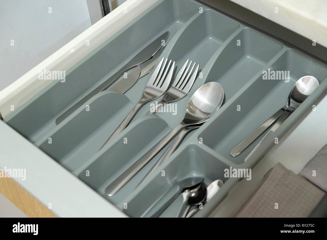 Tiroir de coutellerie Photo Stock