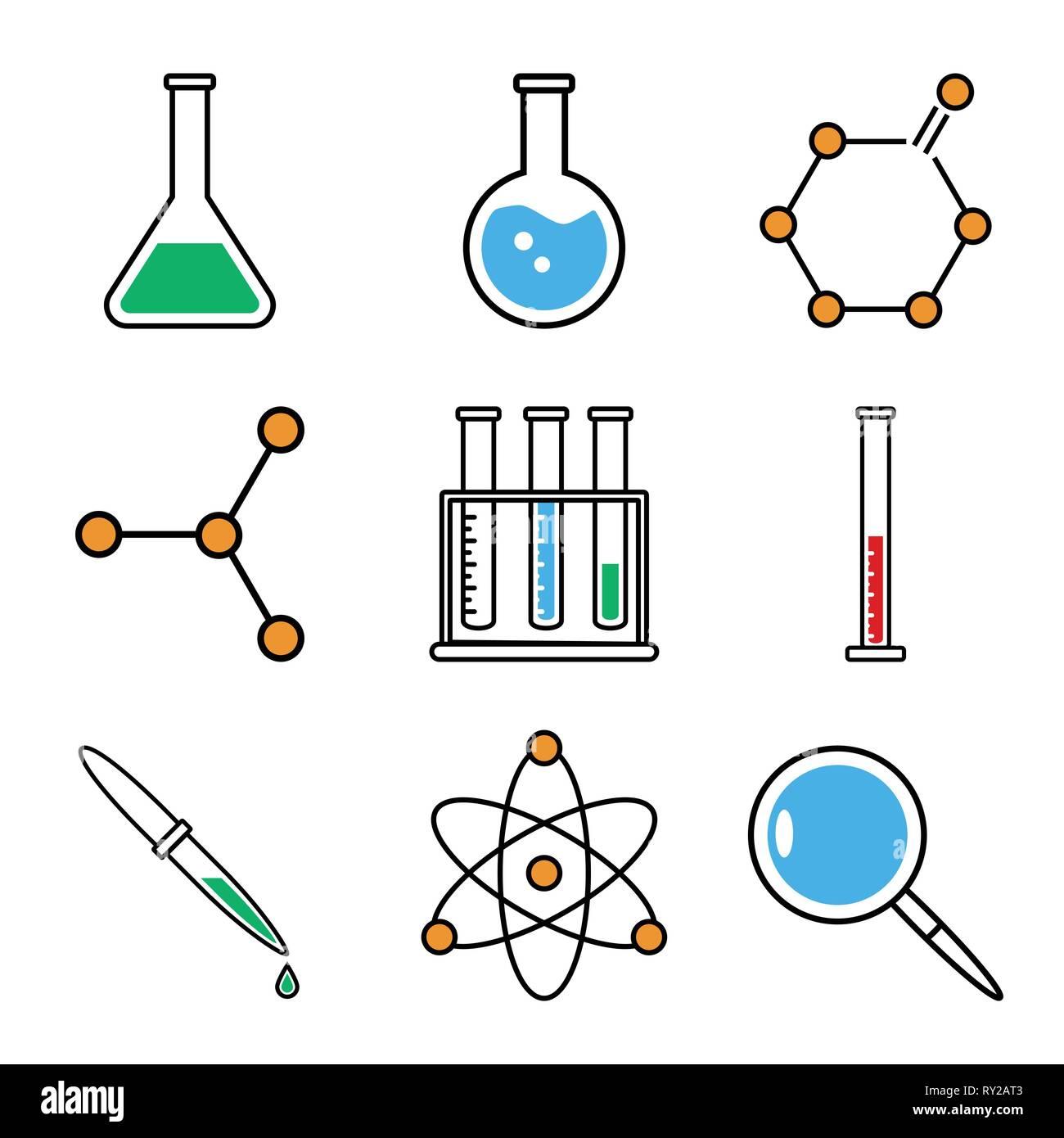 Les icônes de la chimie de l'ensemble. Collection de symboles pour ...
