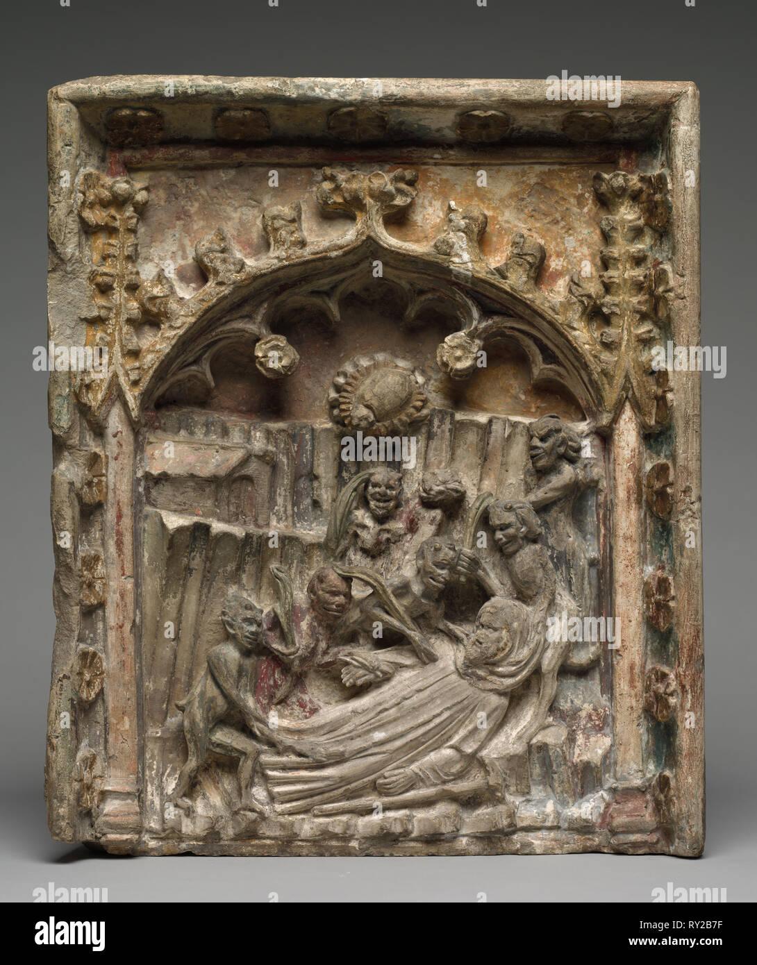 La Tentation de Saint Antoine d'Égypte, ch. Années 1400. La France, ch. 15e siècle. Pierre; total: 46,4 x 38,6 cm (18 1/4 x 15 3/16 po Photo Stock
