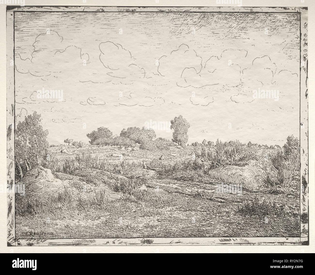 La plaine de la Plante à Biau. Théodore Rousseau (Français, 1812-1867). Cliché-verre Photo Stock
