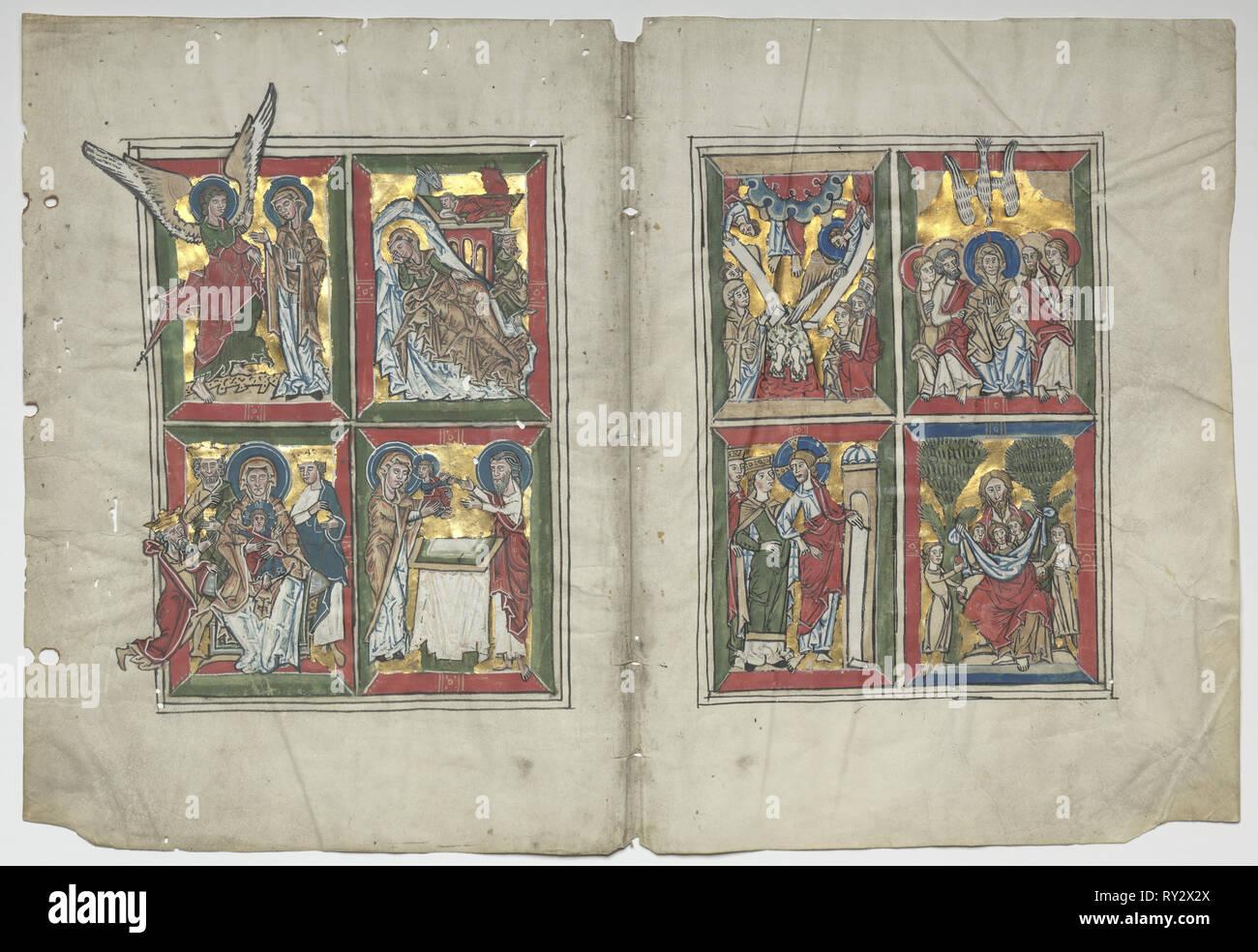 Bifolia avec des scènes de la vie du Christ, 1230-1240. Allemagne, Basse-Saxe (diocèse de Hildesheim), Braunschweig(?), 13e siècle. Tempera et or sur parchemin; feuille: 30,7 x 31 cm (12 1/16 x 12 3/16 po.); pans: 48,3 x 63,5 cm (19 x 25 in.); total: 30,7 x 45,2 cm (12 1/16 x 17 13/16 in.); enchevêtrées: 40,6 x 55,9 cm (16 x 22 in Banque D'Images