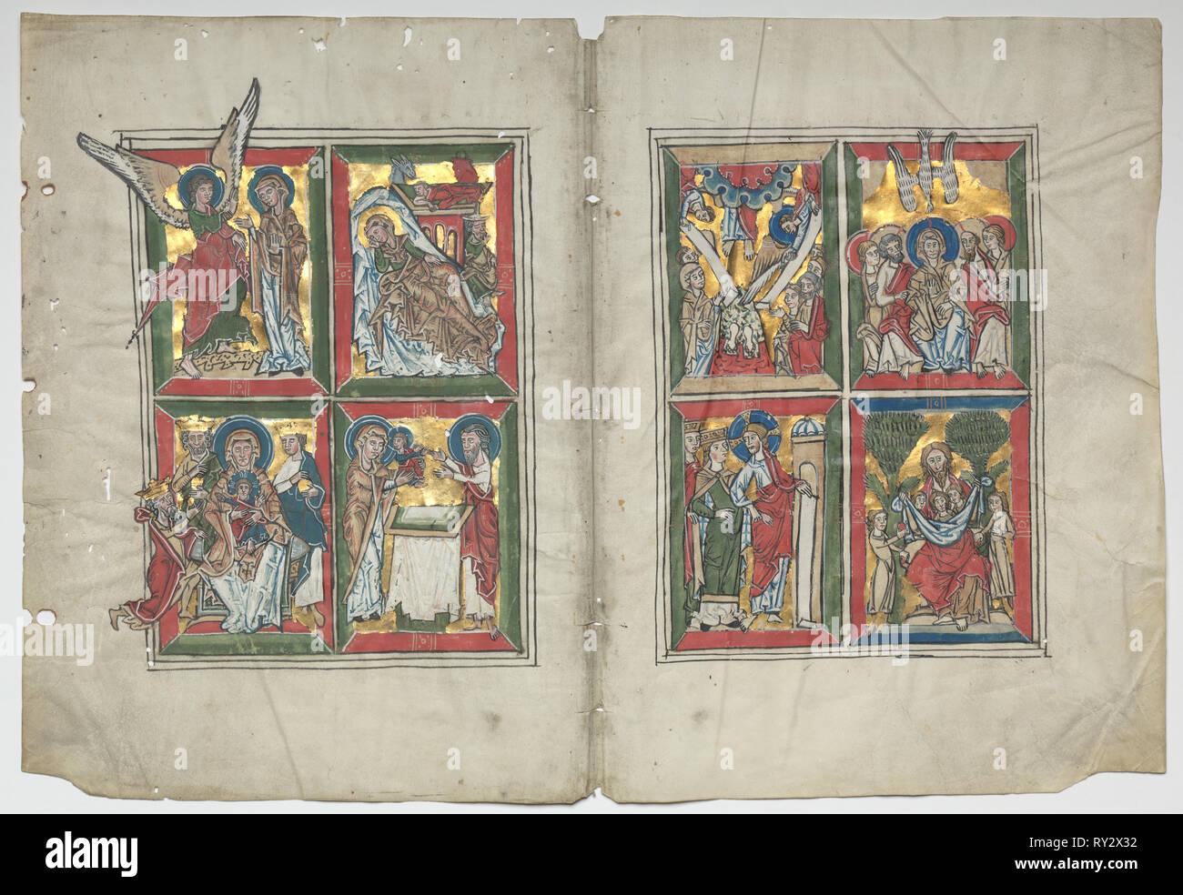 Bifolia avec des scènes de la vie du Christ, 1230-1240. Allemagne, Basse-Saxe (diocèse de Hildesheim), Braunschweig(?), 13e siècle. Tempera et or sur parchemin; pans: 48,3 x 63,5 cm (19 x 25 in.); total: 30,7 x 45,2 cm (12 1/16 x 17 13/16 in.); enchevêtrées: 40,6 x 55,9 cm (16 x 22 in Banque D'Images