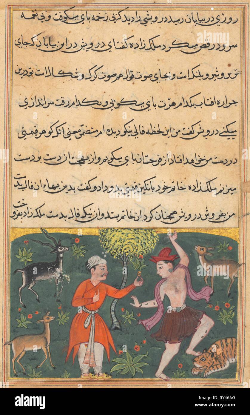 La page de contes d'un perroquet (Tuti-nama): Dix-huitième nuit: le prince répond à une danse sans souci darwish dont la bonne fortune qu'il achète pour son anneau, c. 1560. L'Inde, l'Empire moghol, règne d'Akbar, 16ème siècle. L'aquarelle, l'encre opaque et d'or sur papier Photo Stock