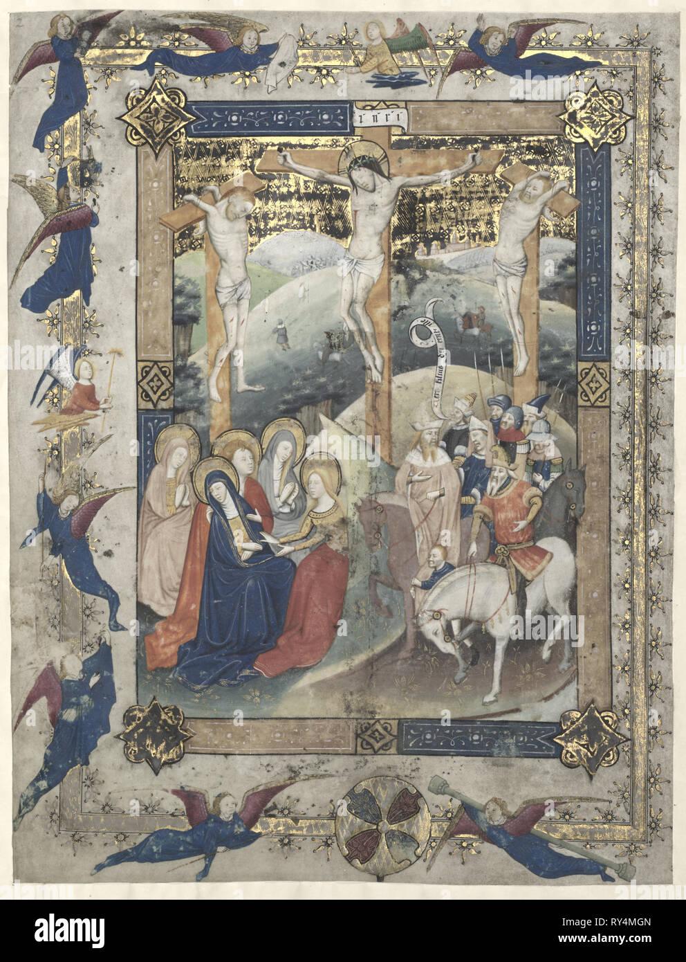 Feuille d'un missel romain: La Crucifixion (frontispice pour le Canon de la Messe), ch. 1440-1450. Maître de Otto van Moerdrecht Russisch (). Encre, tempera, et d'or sur vélin; feuille: 33,6 x 25,5 cm (13 1/4 x 10 1/16 in.); pans: 63,5 x 48,3 cm (25 x 19 in.); enchevêtrées: 55,9 x 40,6 cm (22 x 16 in Banque D'Images