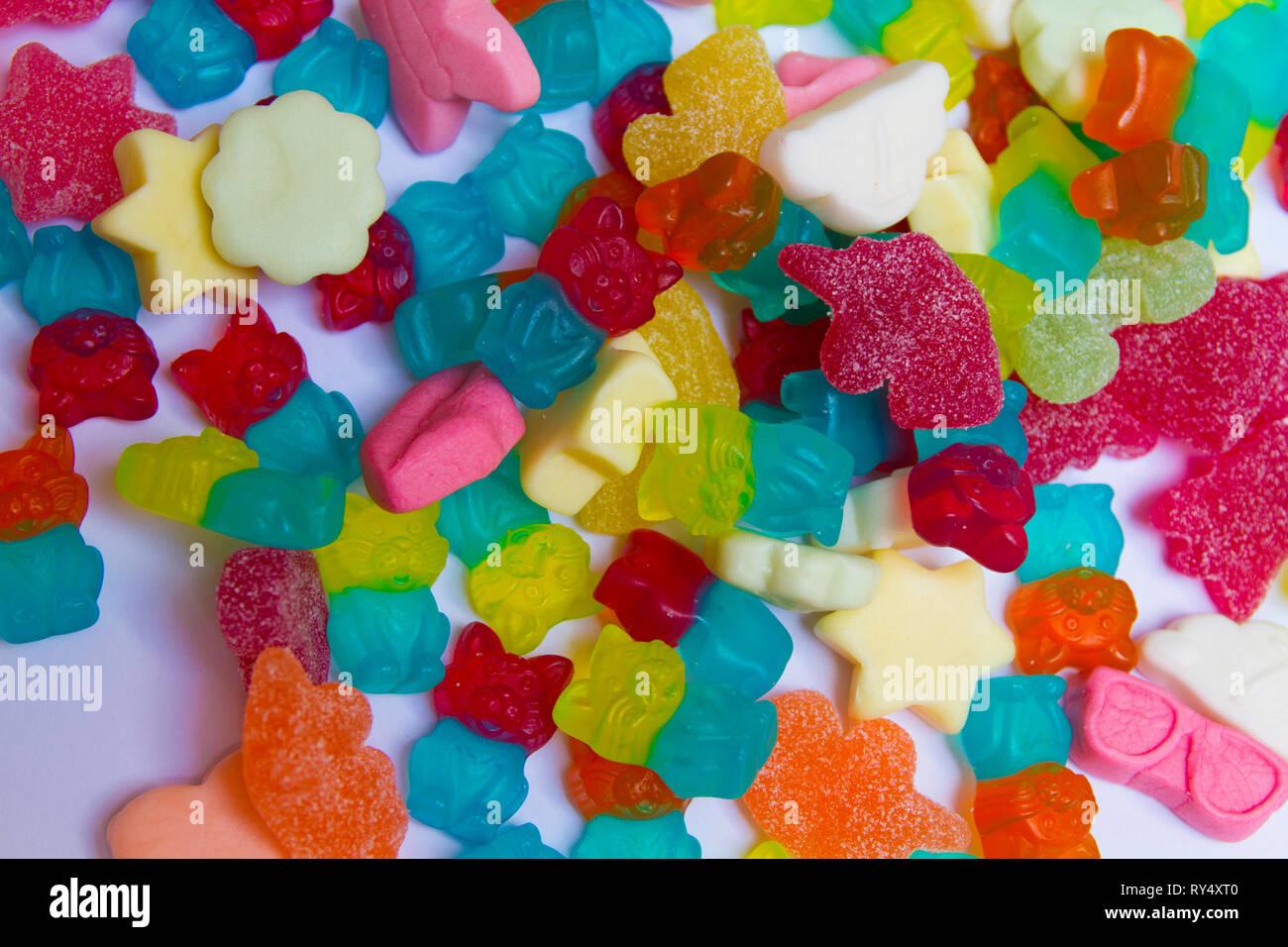 Jellys ours gommeux et fruits Banque D'Images