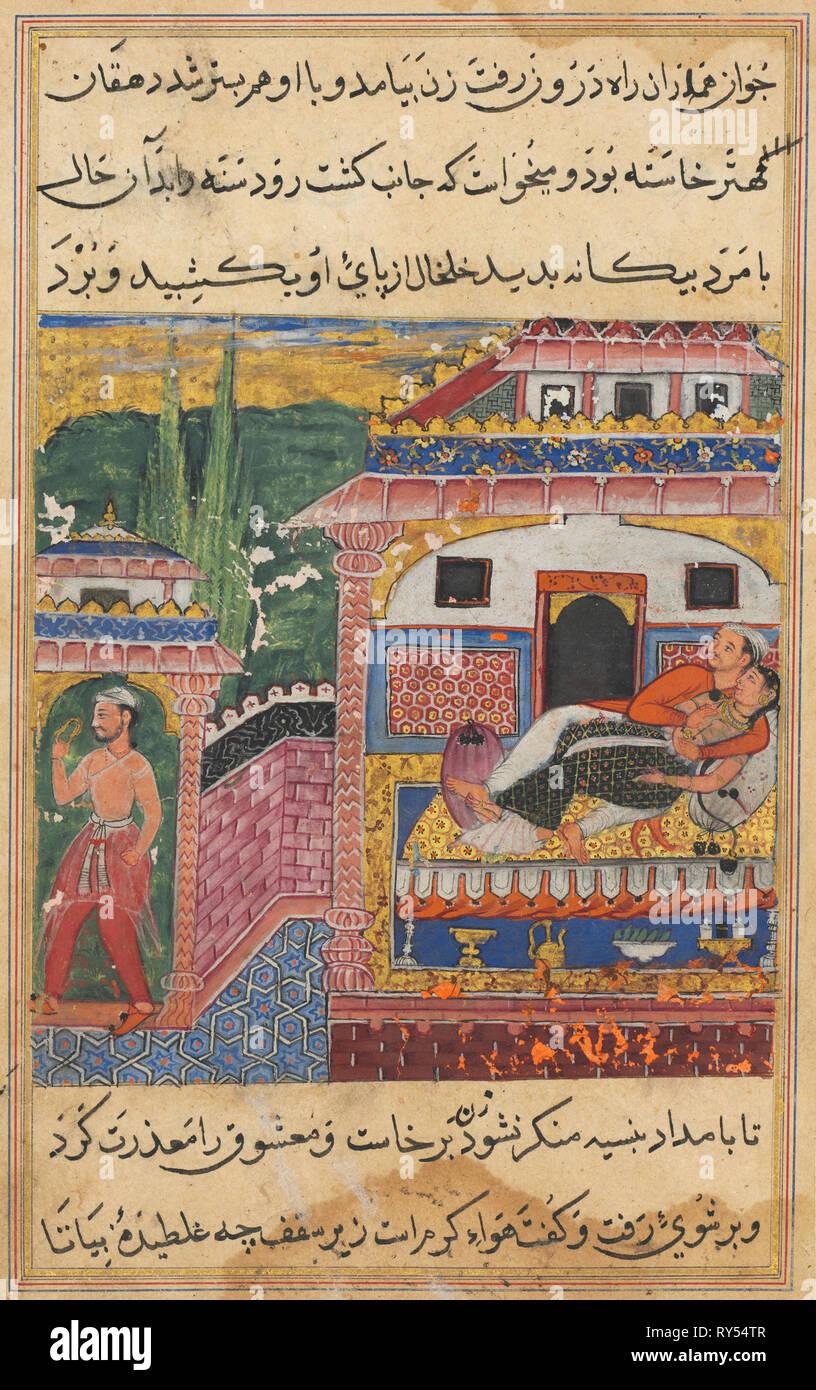 La page de contes d'un perroquet (Tuti-nama): Huitième nuit: l'agriculteur, père du fils avec l'épouse, trompeuse vole loin avec sa cheville alors qu'elle est au lit avec son amant, 1558-1560. L'Inde, l'Empire moghol, règne d'Akbar (1556-1605), 16e siècle. Aquarelle, encre, opaque et d'or sur papier Photo Stock